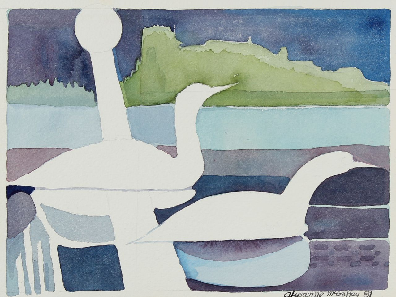 Abstracted Landscape with Ducks <br>1981 Watercolor<br><br>#22677