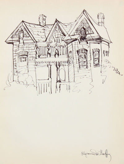 Vintage Victorian-Gothic House <br>1950-60s Ink Drawing <br><br>#22958