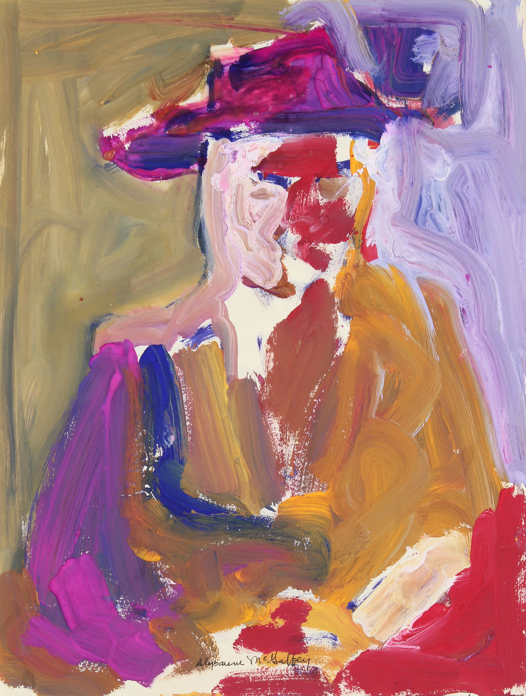 Bay Area Figurative Abstracted Figure with Hat, 1950-60s Distemper, #23226