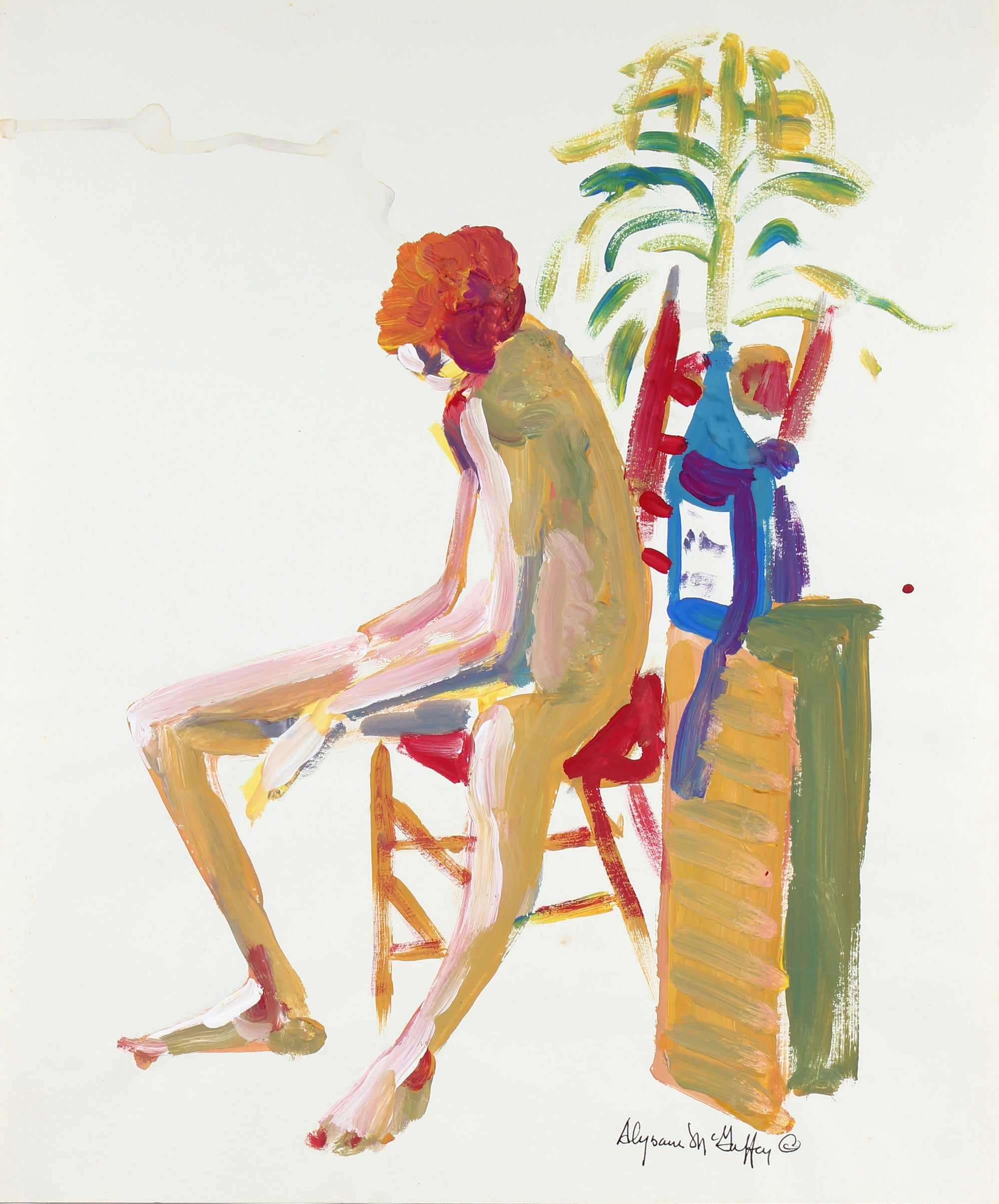 Bay Area Figurative Seated Nude<br>1950-60s Distemper<br><br>#23431
