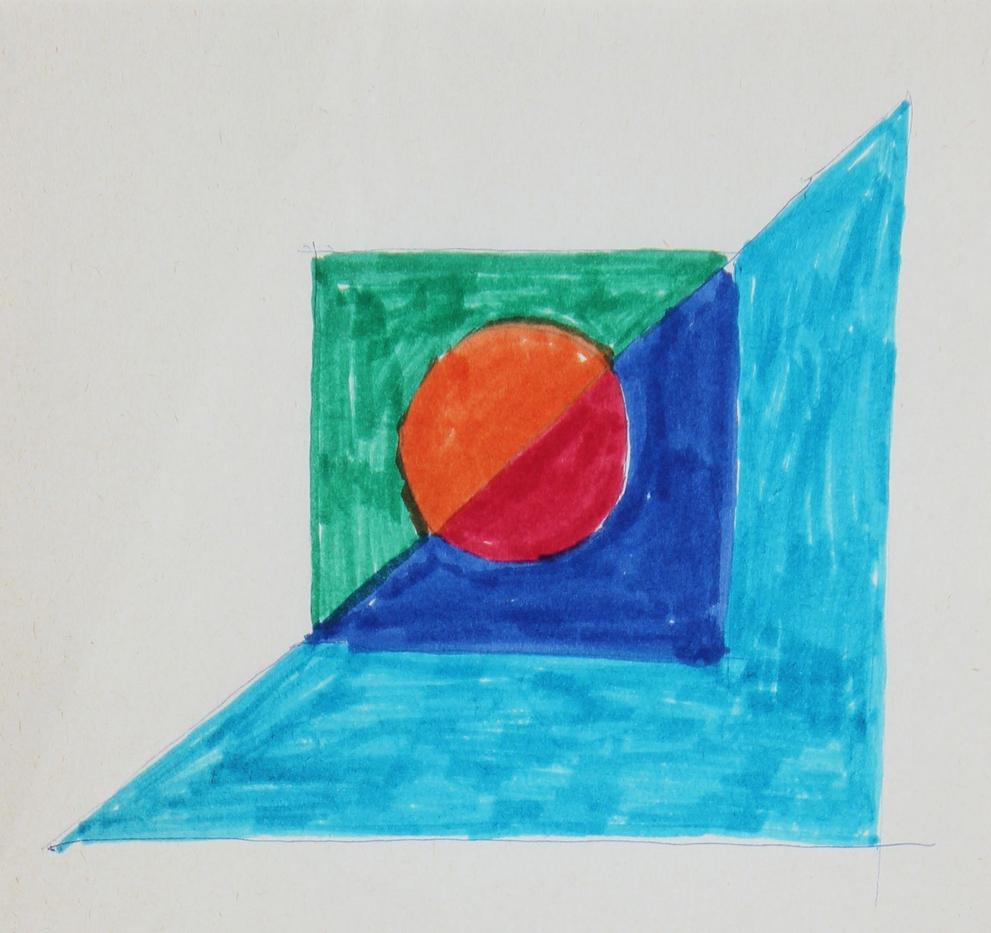 Blue Triangel - Orange Square <br>Mid Century Pen & Ink <br><br>#24318