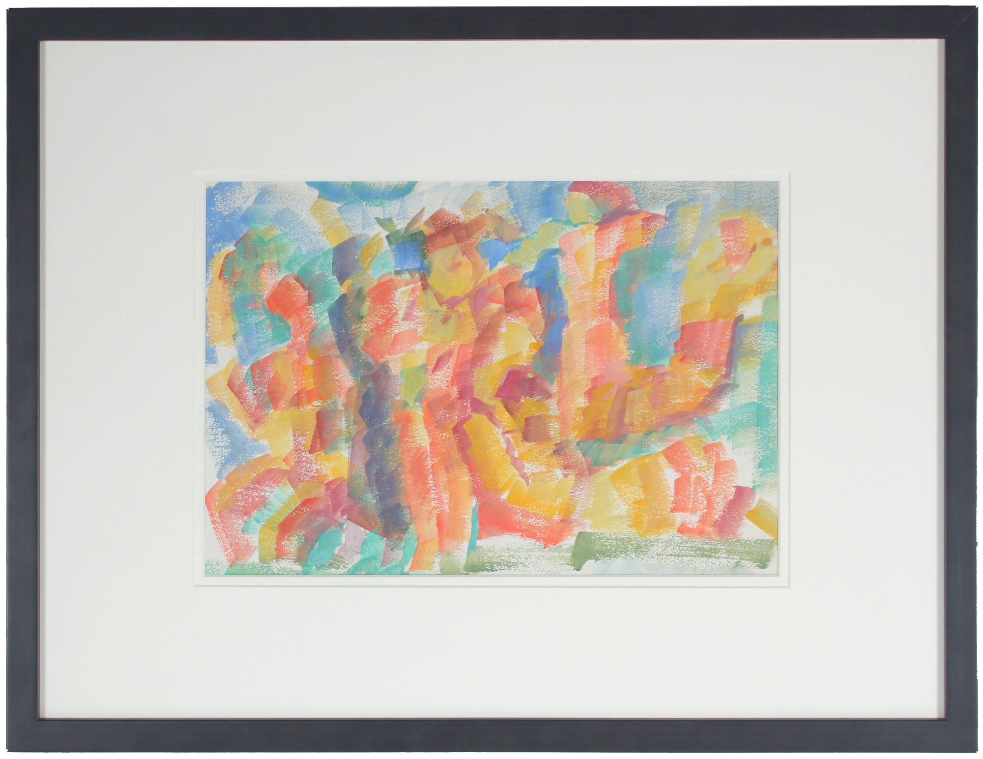 Colorful Expressionist Dancing Figures<br>Early-Mid 20th Century Watercolor<br><br>#13242