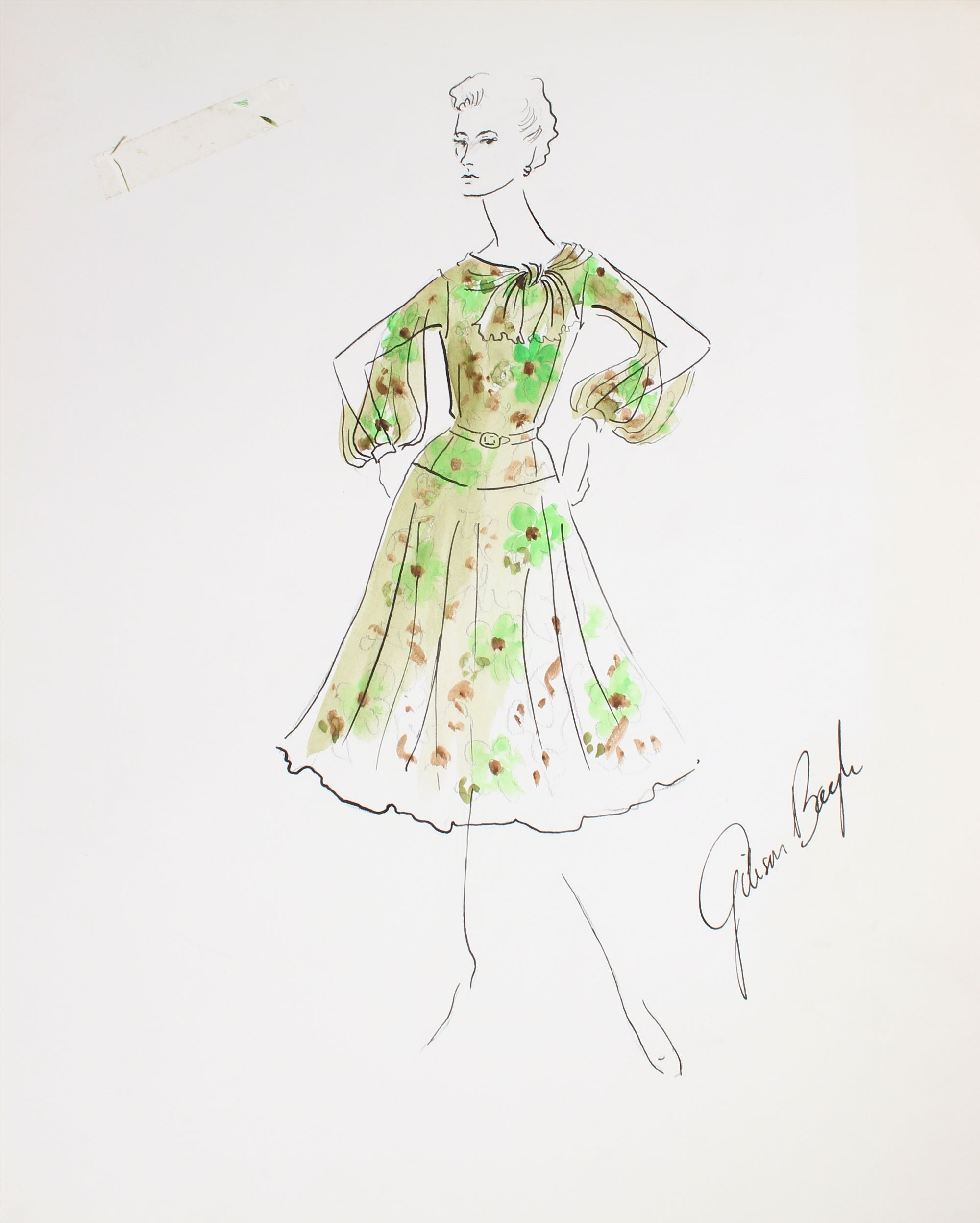 Floral Spring Dress with Slit Sleeves<br> Gouache & Ink Fashion Illustration<br><br>#26252