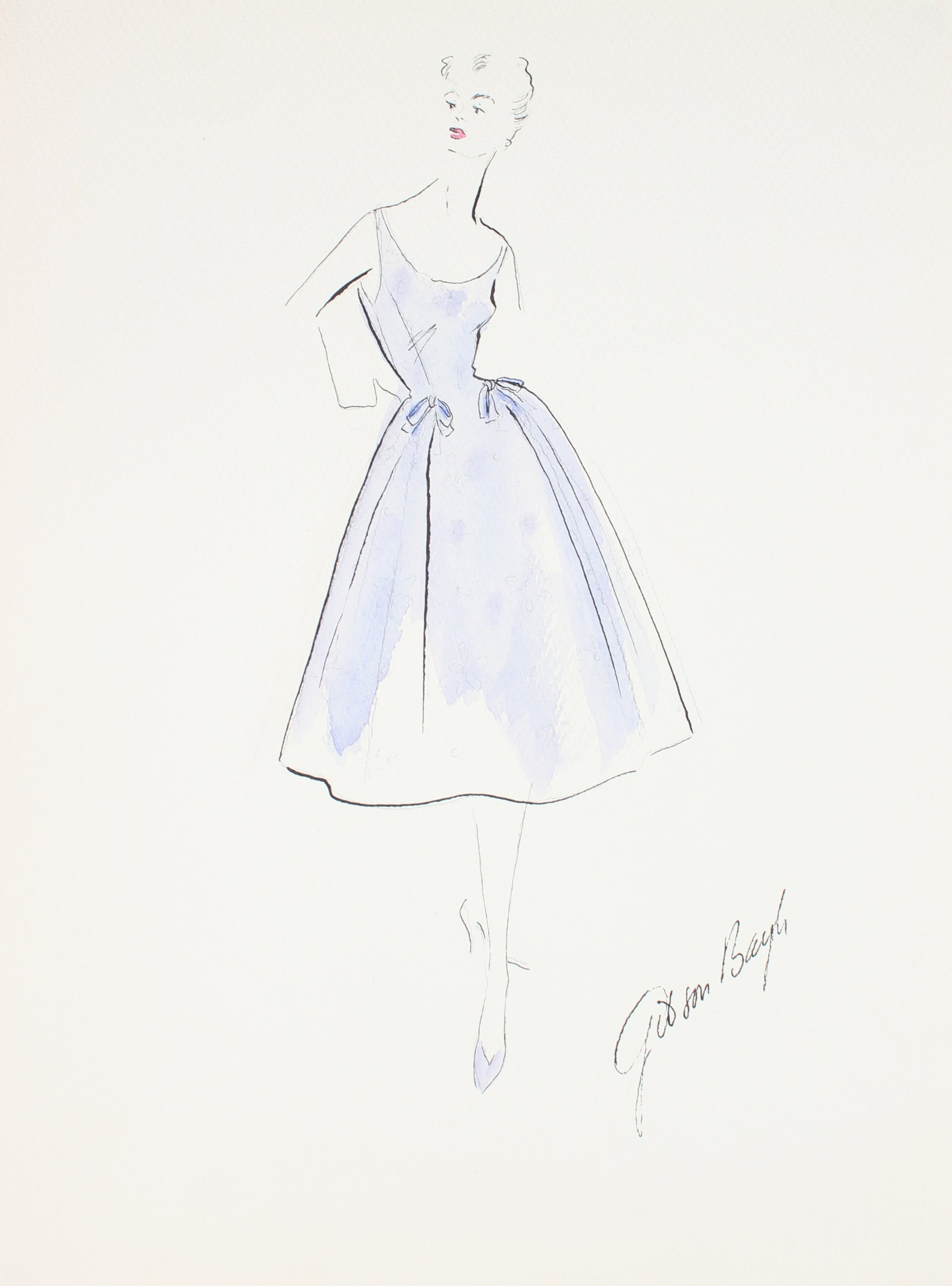 Paneled Bell-Shaped Dress in Lilac<br> Gouache & Ink Fashion Illustration<br><br>#26520