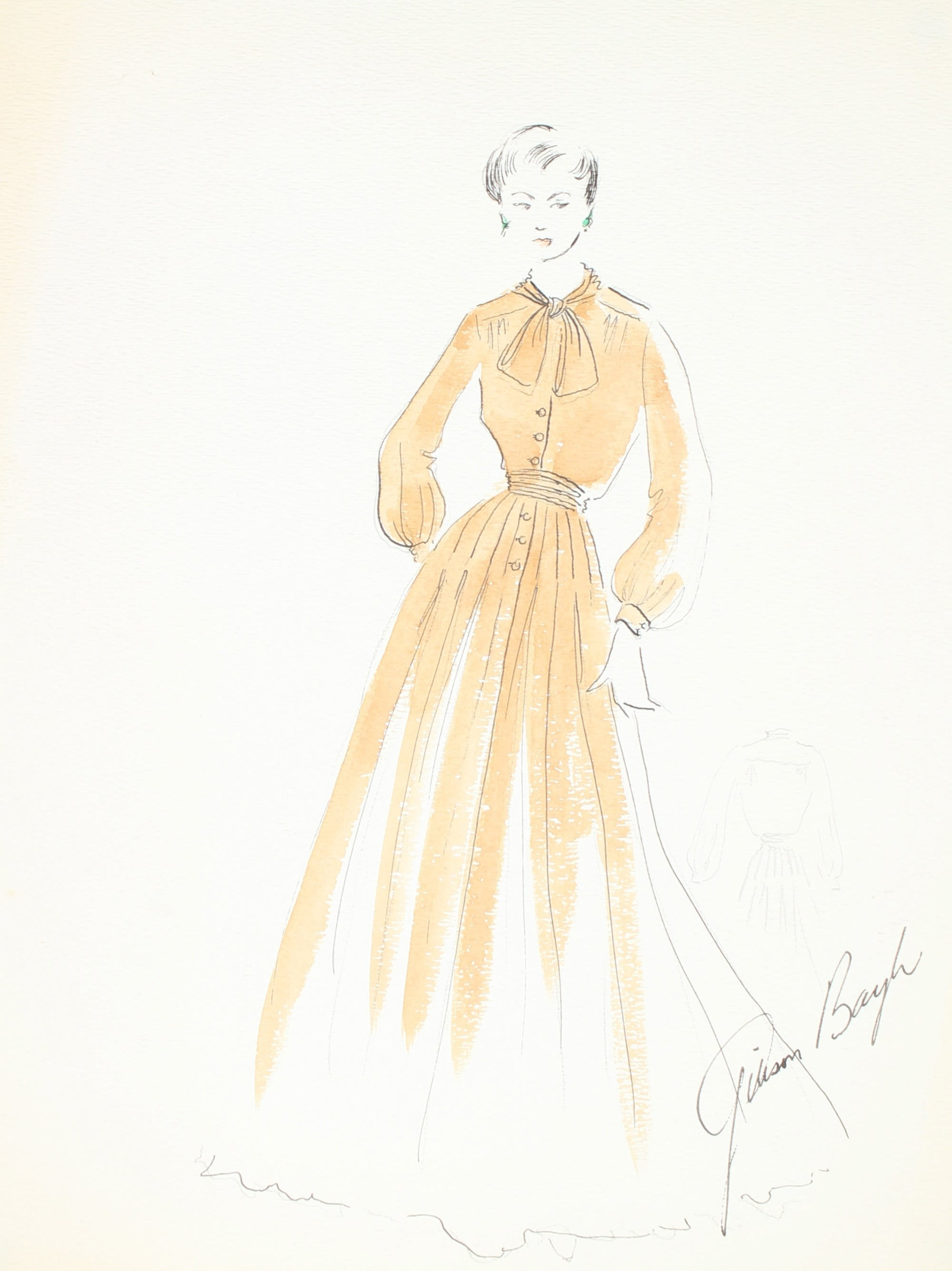 Yellow Pleated Dress with Cuffed Sleeves<br> Gouache & Ink Fashion Illustration<br><br>#26595