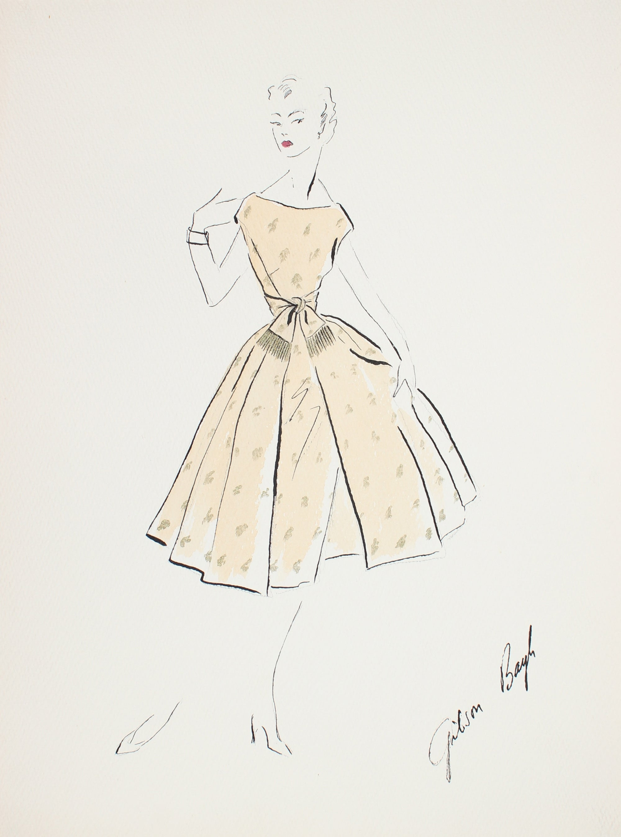 Yellow Teacup Dress<br> Gouache & Ink Fashion Illustration<br><br>#26946