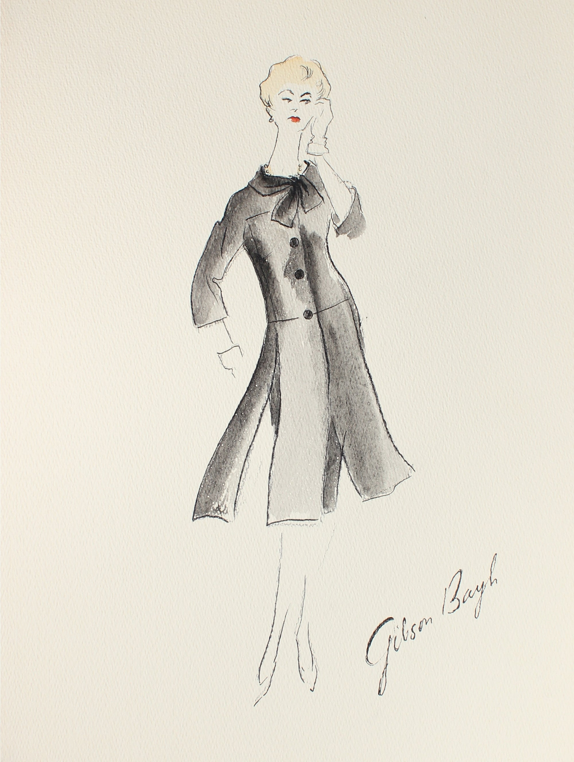 Black Skirt Suit<br> Gouache & Ink Fashion Illustration<br><br>#26958