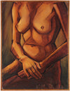 Modernist Seated Nude Study <br>1940 Oil <br><br>#17689