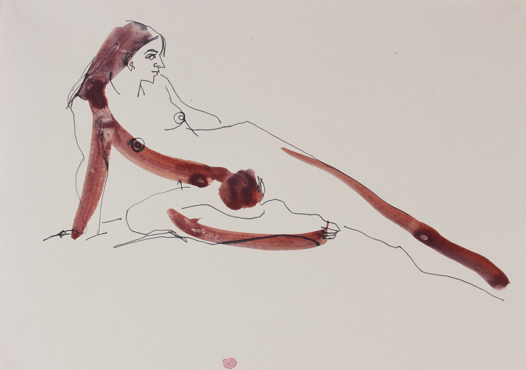 Reclining Elongate Nude <br>20th Century Ink & Ink Wash <br><br>#29231