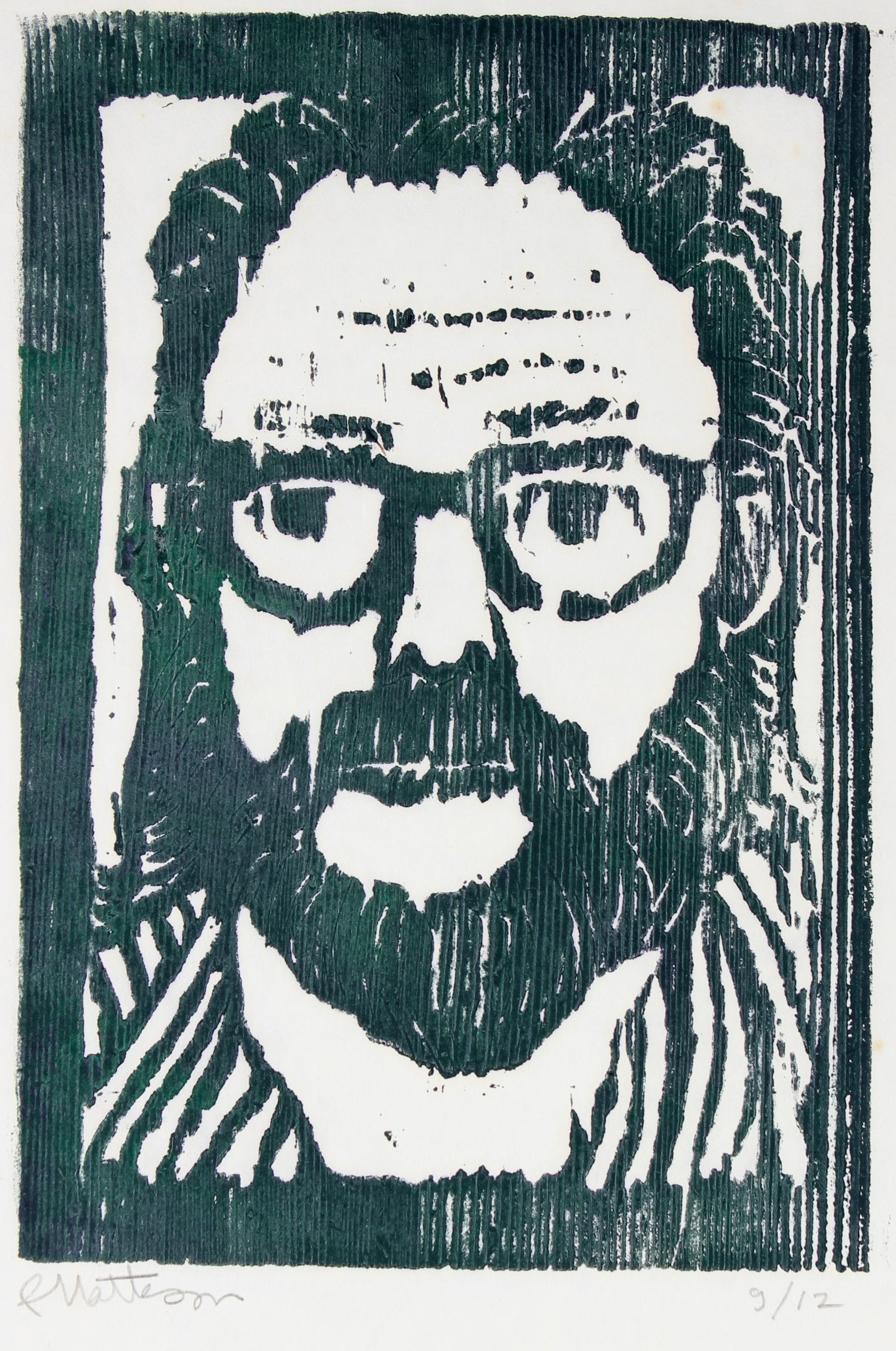Artist Self Portrait<br>20th Century Woodcut<br><br>#29519