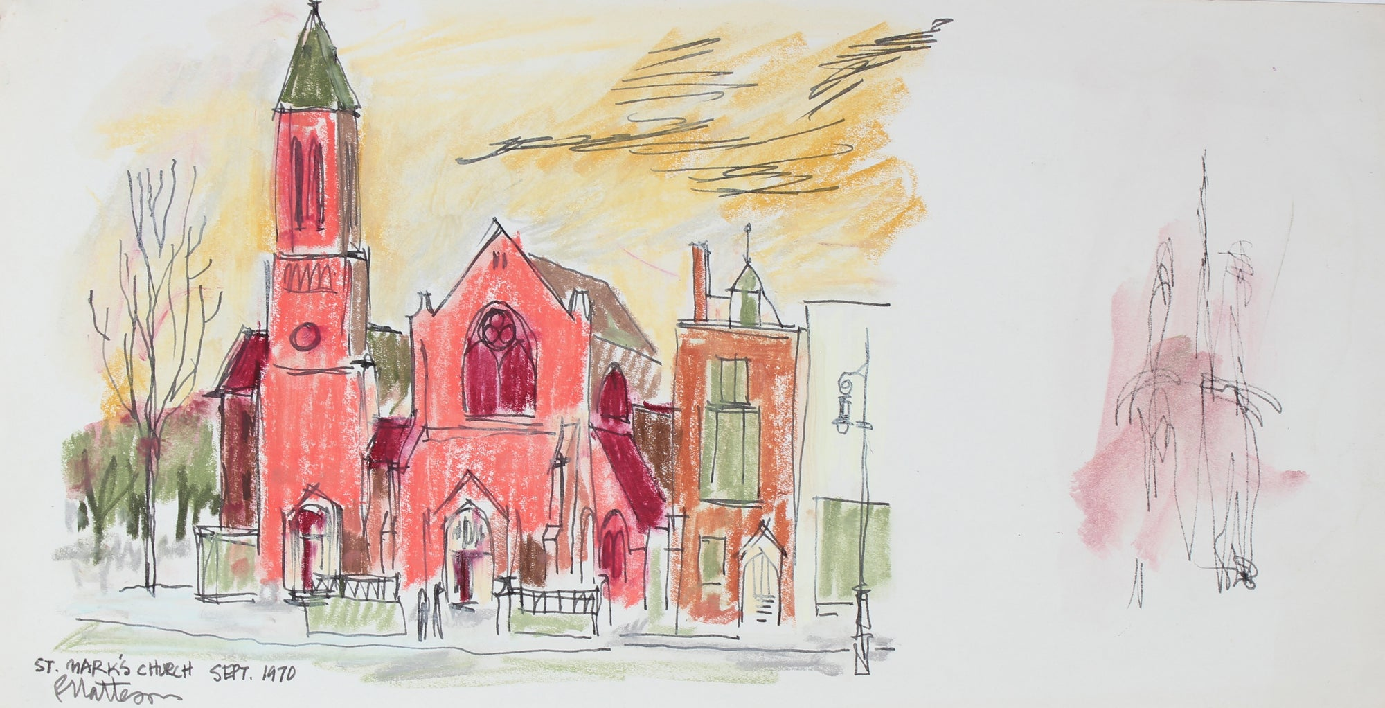 <i>St. Mark's Church</i> <br>1970 Pastel & Ink <br><br>#29555
