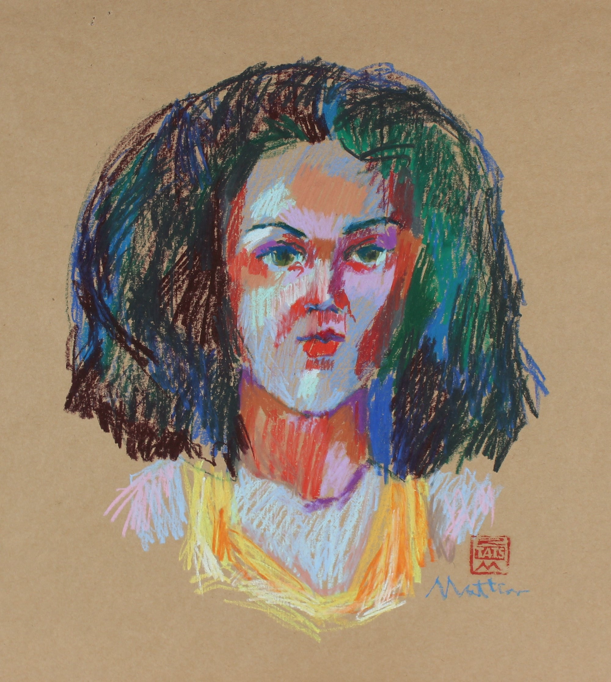 Colorful Female Portrait <br>20th Century Pastel <br><br>#29614