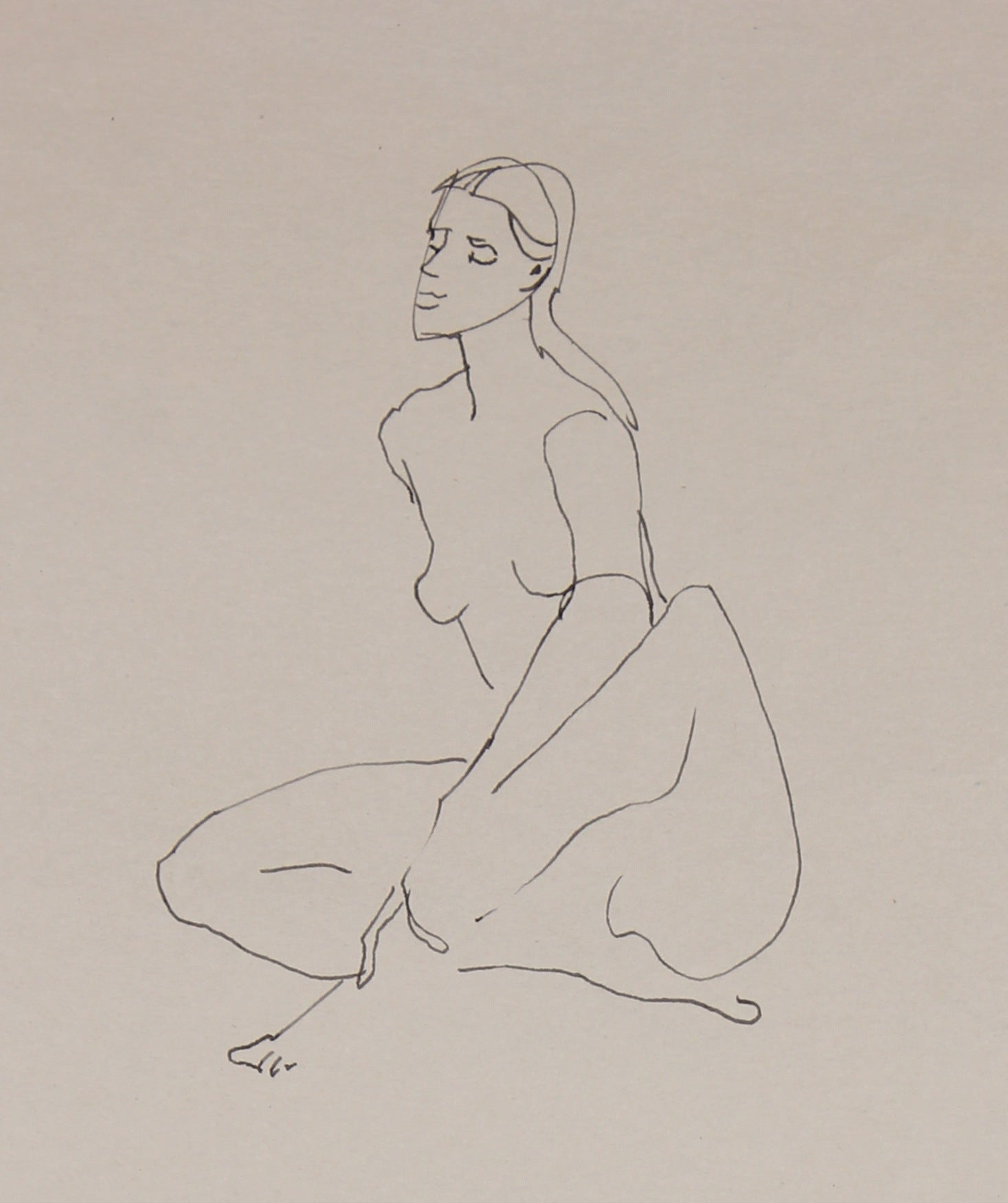 Seated Nude Figure Study <br>20th Century Ink <br><br>#29692