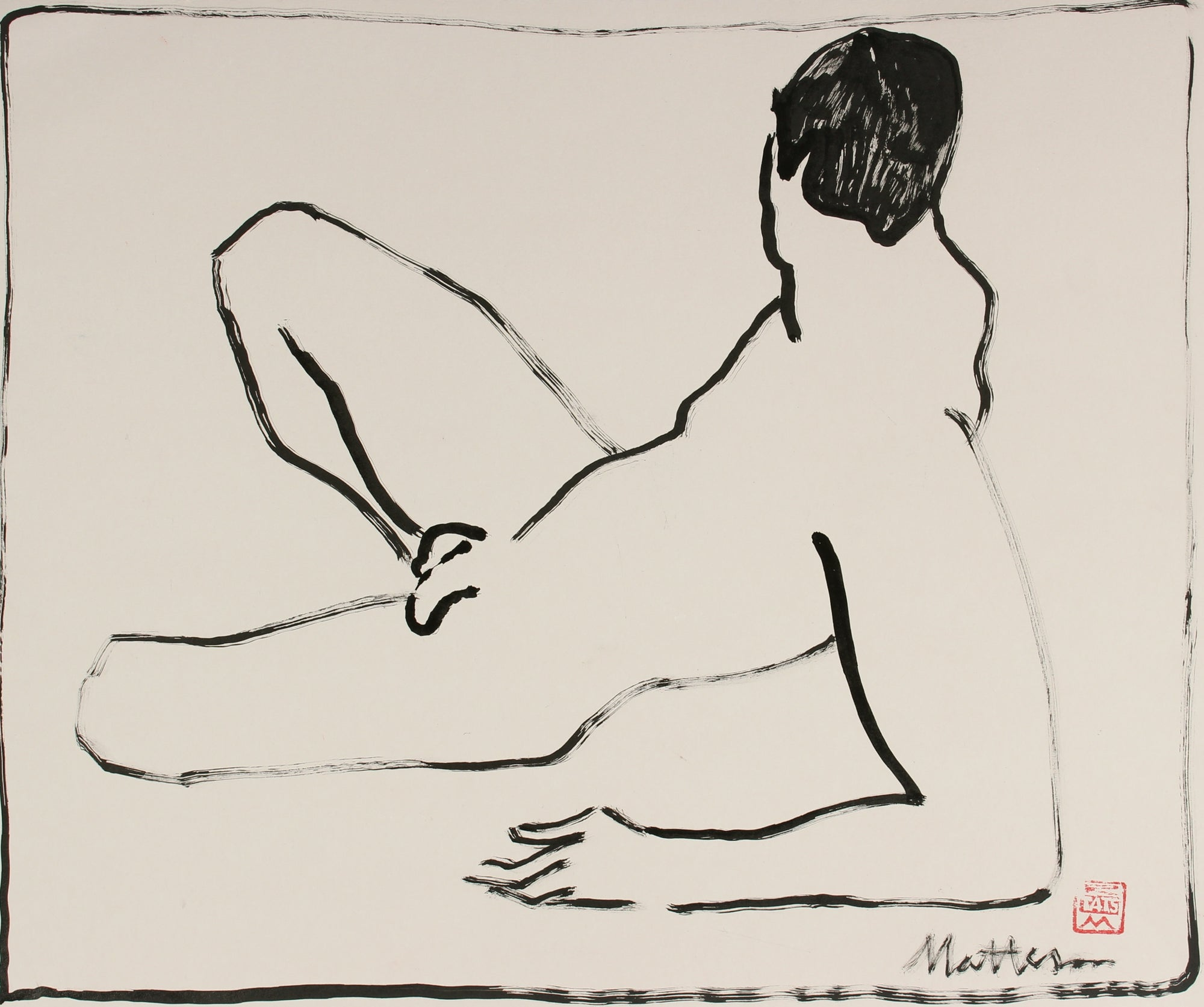 Reclining Male Nude <br>20th Century Ink <br><br>#29697