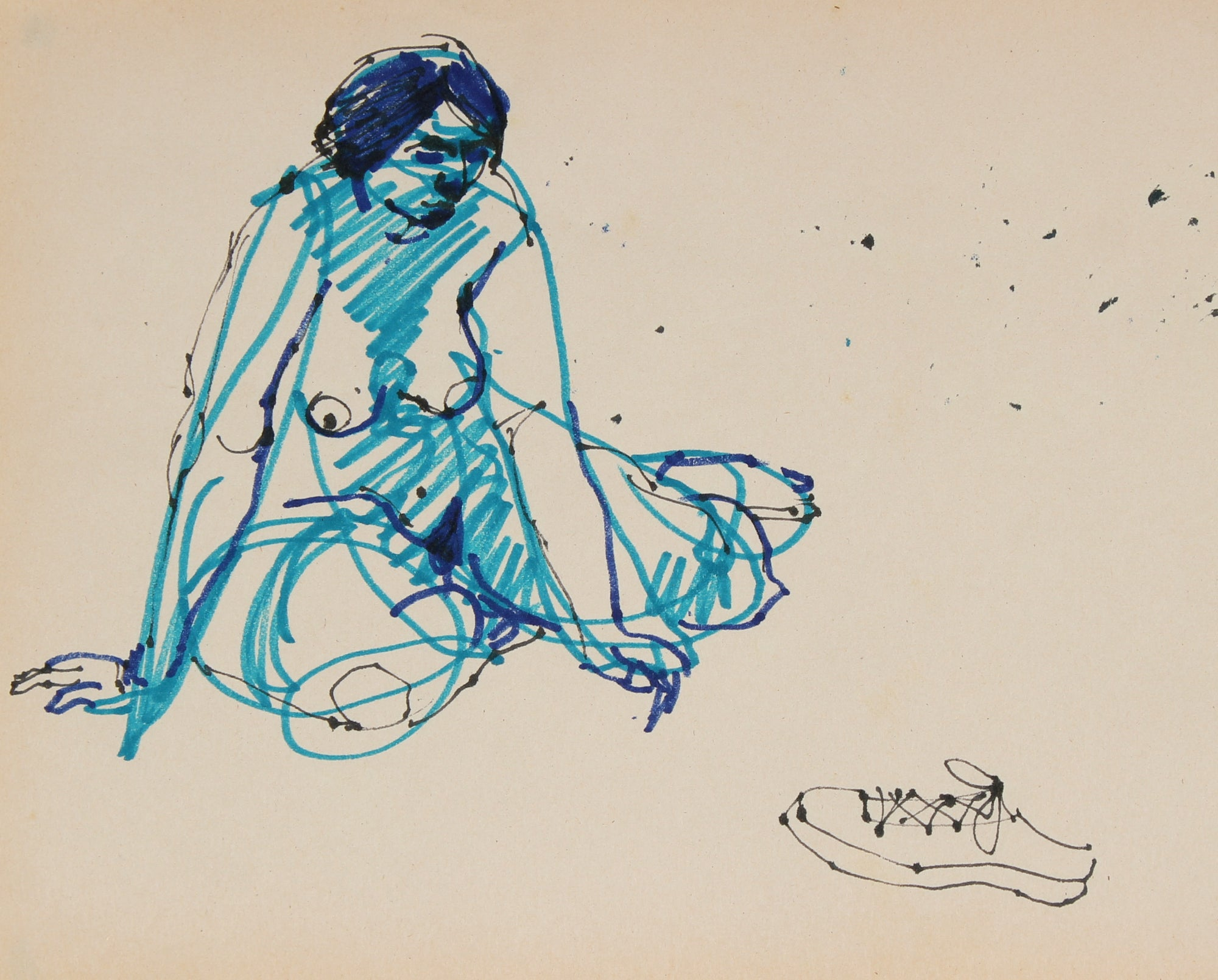 Abstracted Nude in Blue <br>1965 Ink <br><br>#29747