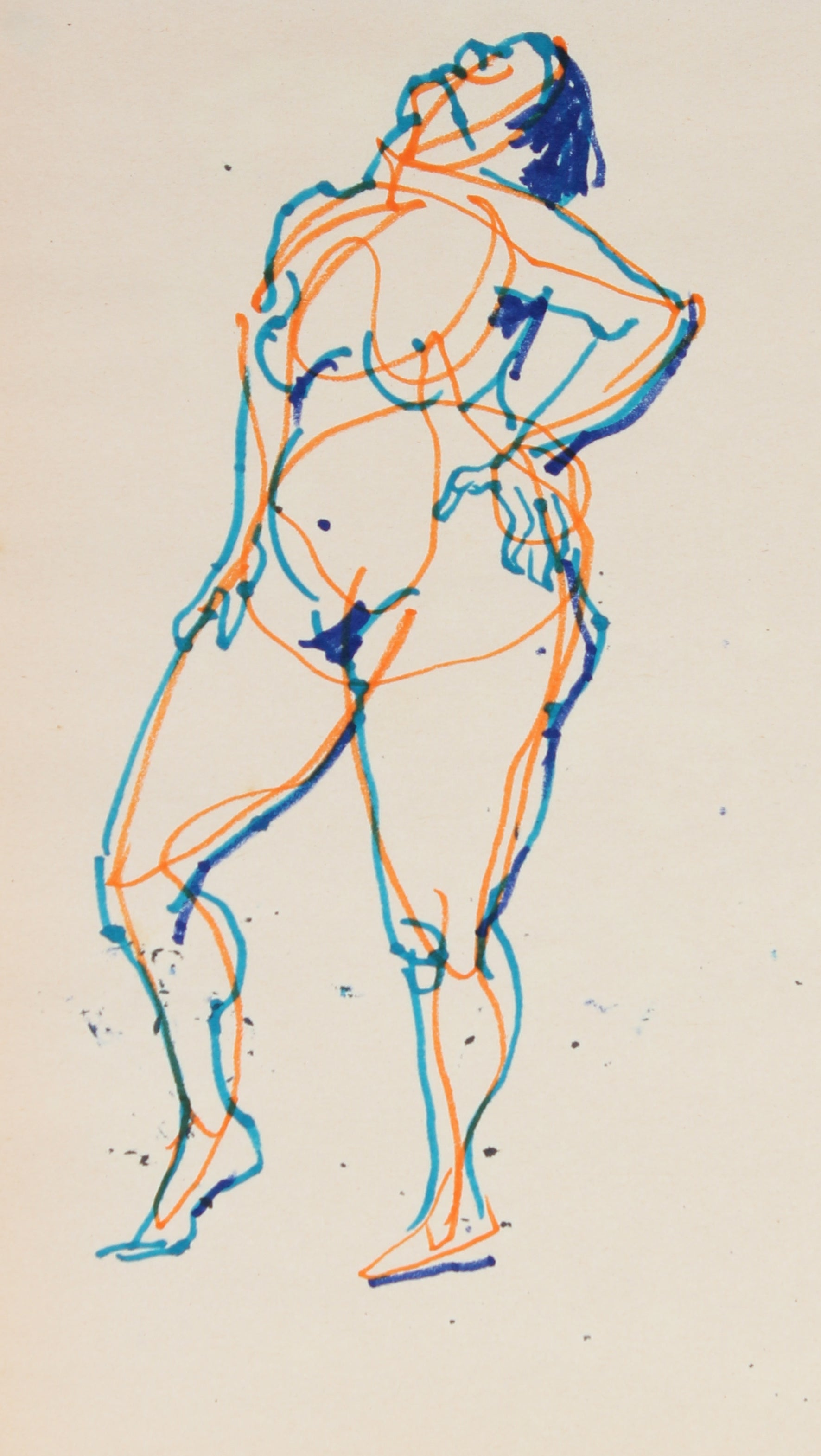 Simple Line Rendering Of A Female Nude <br>1965 Ink <br><br>#29748