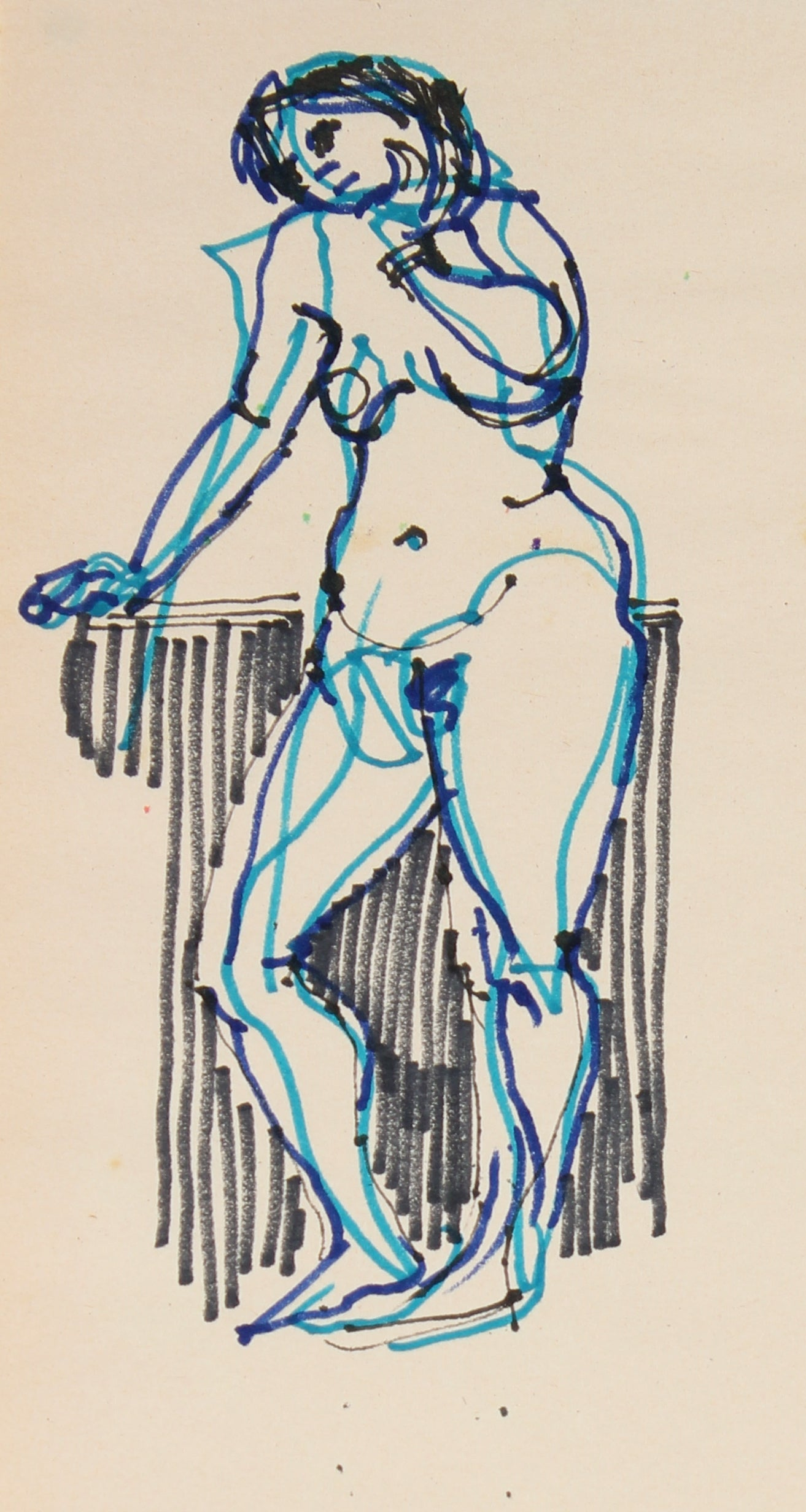 Monochromatic Female Nude With Blue Highlights <br>1965 Ink <br><br>#29751