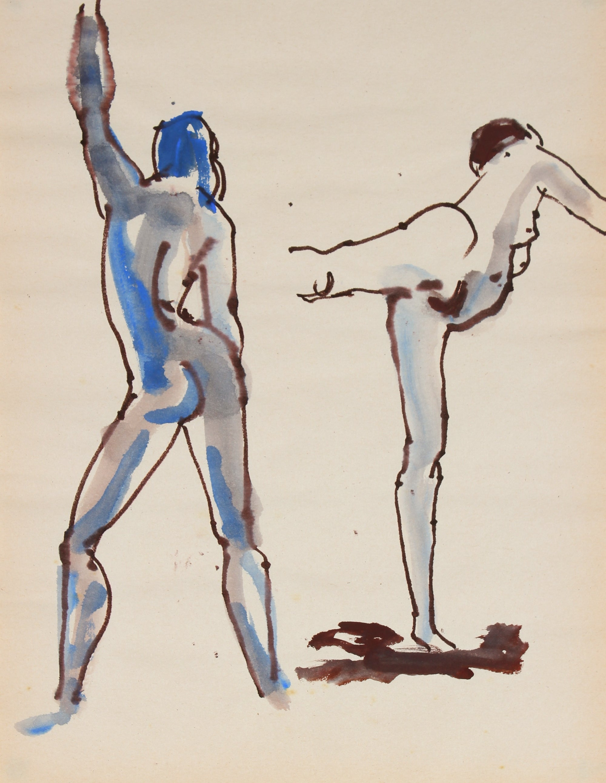 Nude Dancing Figures <br>1965 Ink and Watercolor<br><br#30164