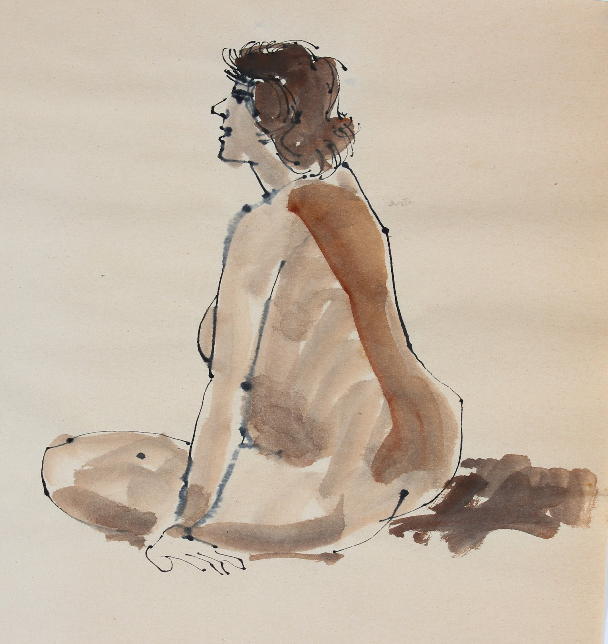 Warm Toned Seated Nude <br>1965 Ink & Watercolor<br><br>#30194
