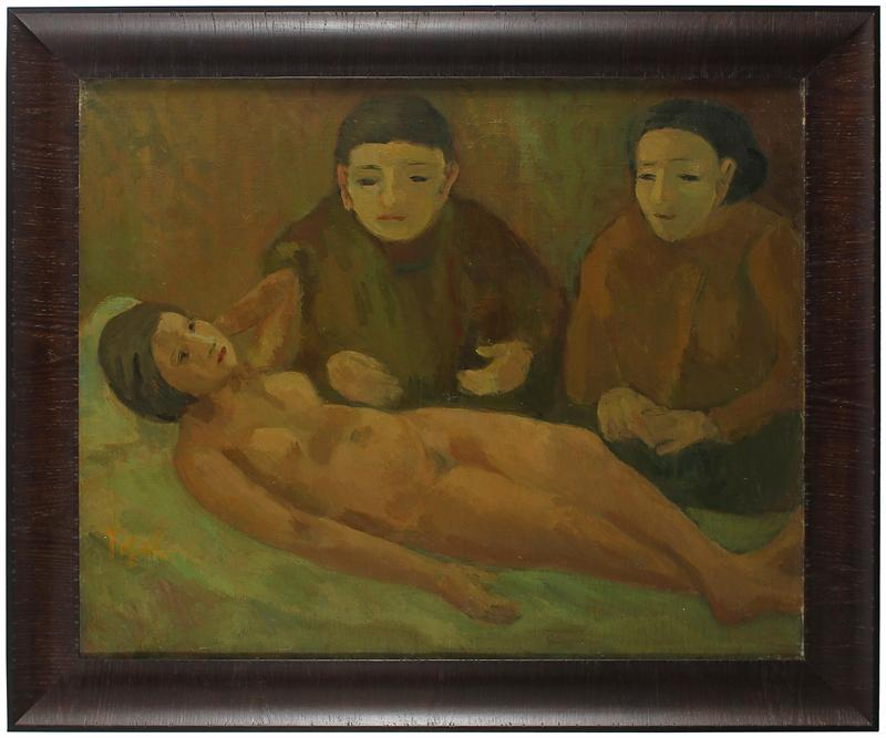 <i>Woman with Nude</i><br>1929 Early Expressionist Oil<br><br>#14006