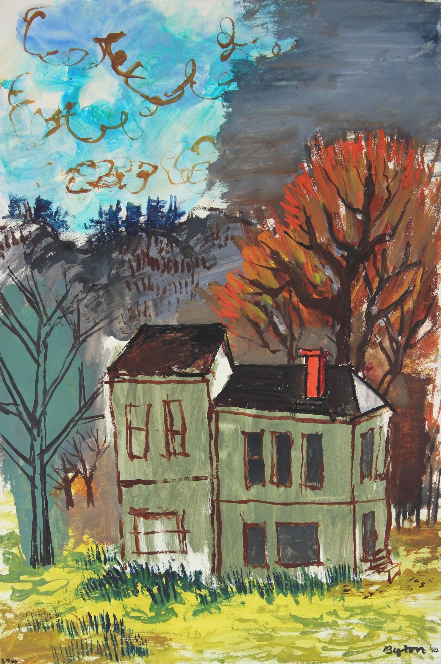 <i>House in Autumn</i><br>1944 Gouache Scene<br><br>#31353