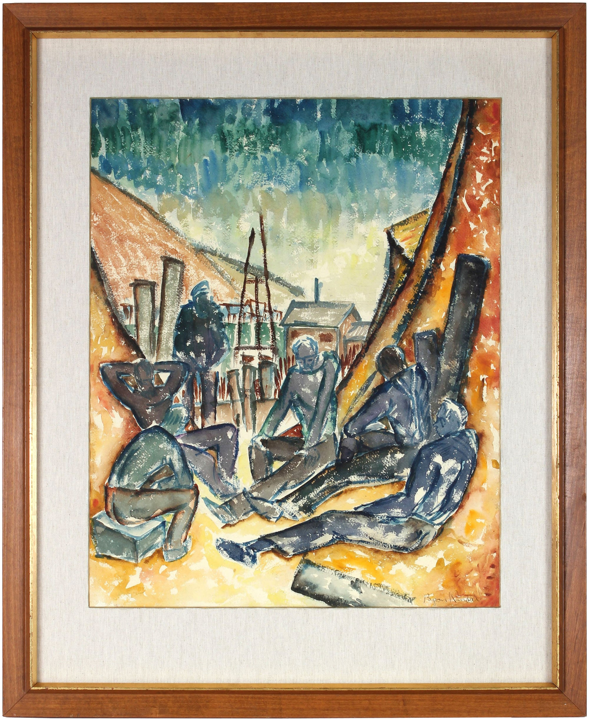 <i>Six Men by the Sea</i><br>1937 WPA Watercolor<br><br>#31359