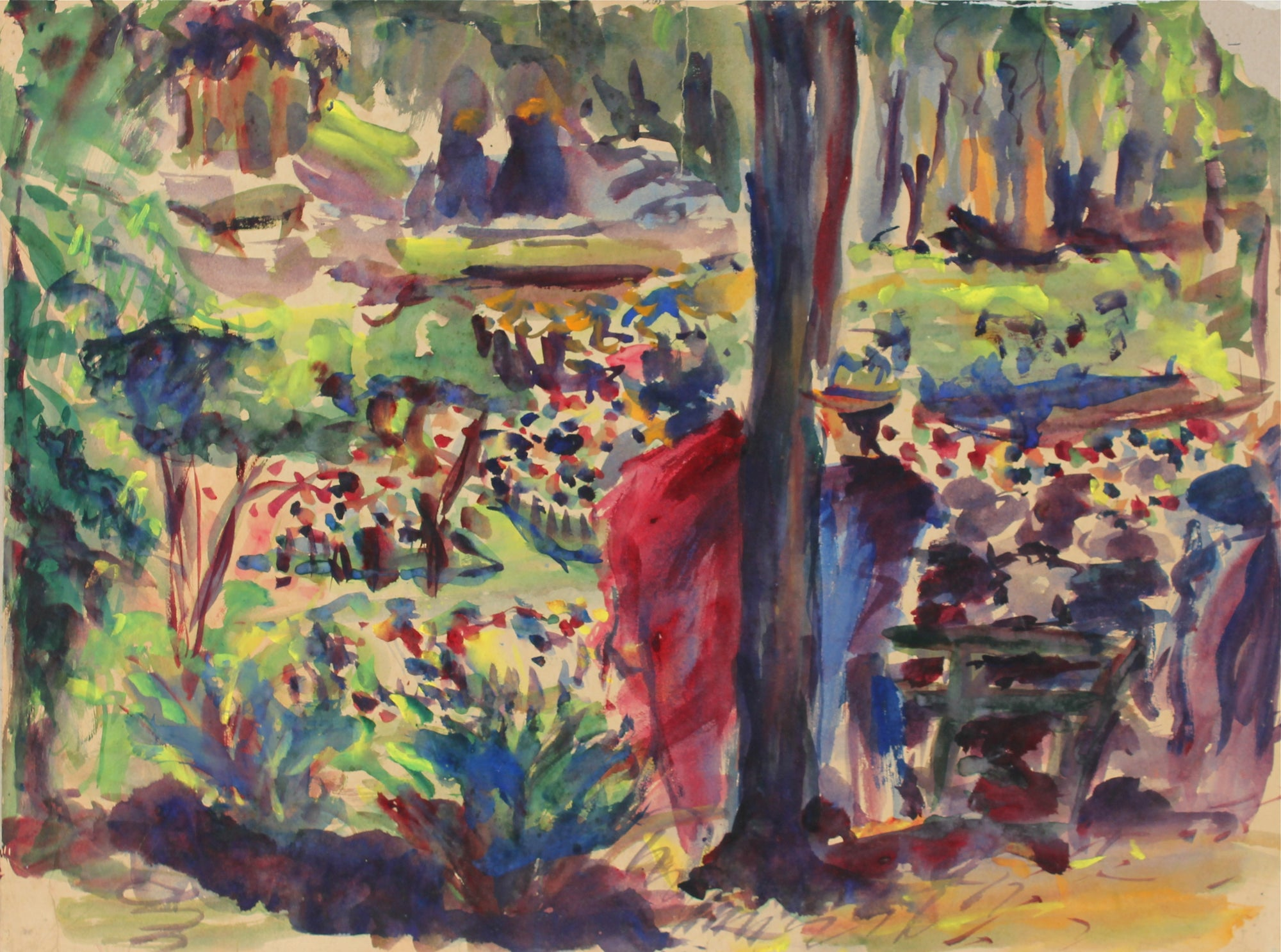 Abstracted Park Scene<br>1940s Watercolor<br><br>#31364
