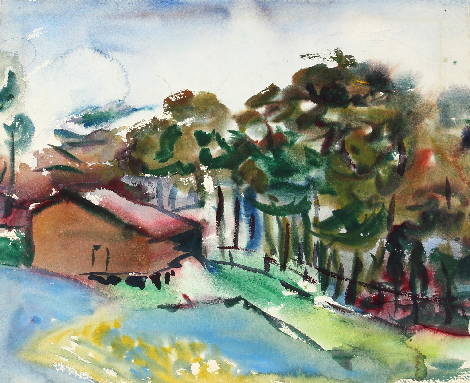 Farmhouse by the Trees<br>Mid Century Watercolor<br><br>#31365