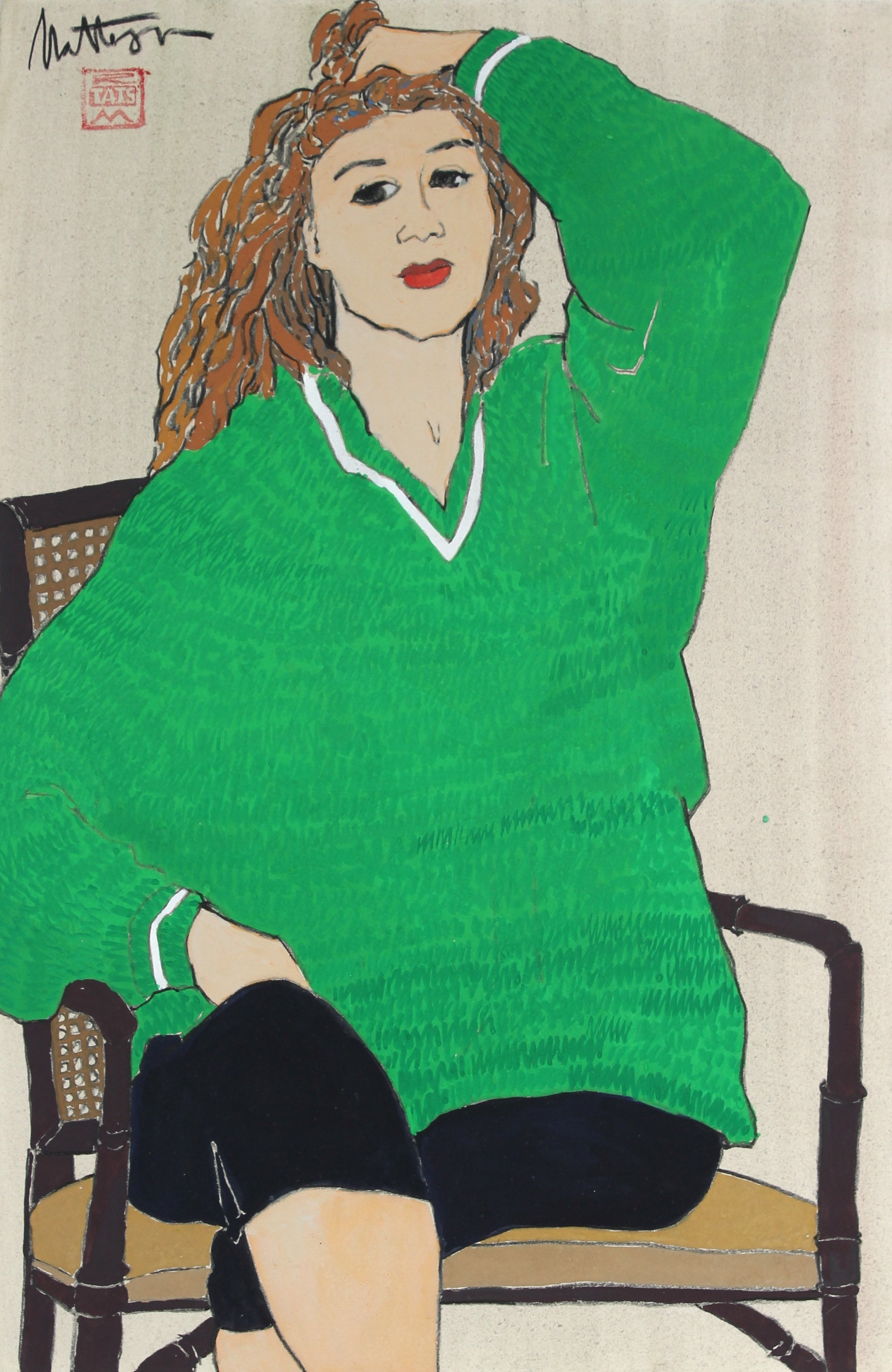 Modernist Seated Woman In Green <br>20th Century Charcoal, Gouache and Wash<br><br>#34810