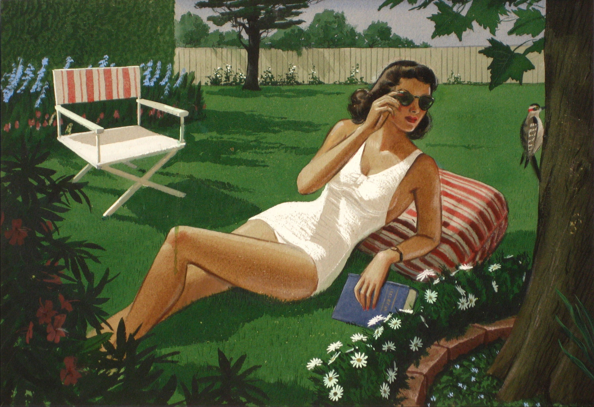 Woman Laying In The Sun <br>1930-60s, Tempera Paint<br><br>#13531