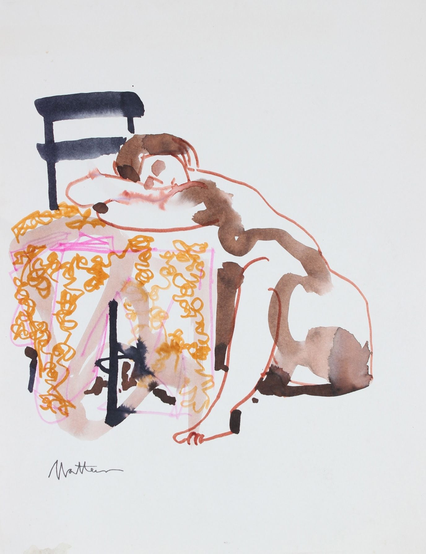 Nude With Chair Study <br>20th Century Watercolor & Ink <br><br>#29251