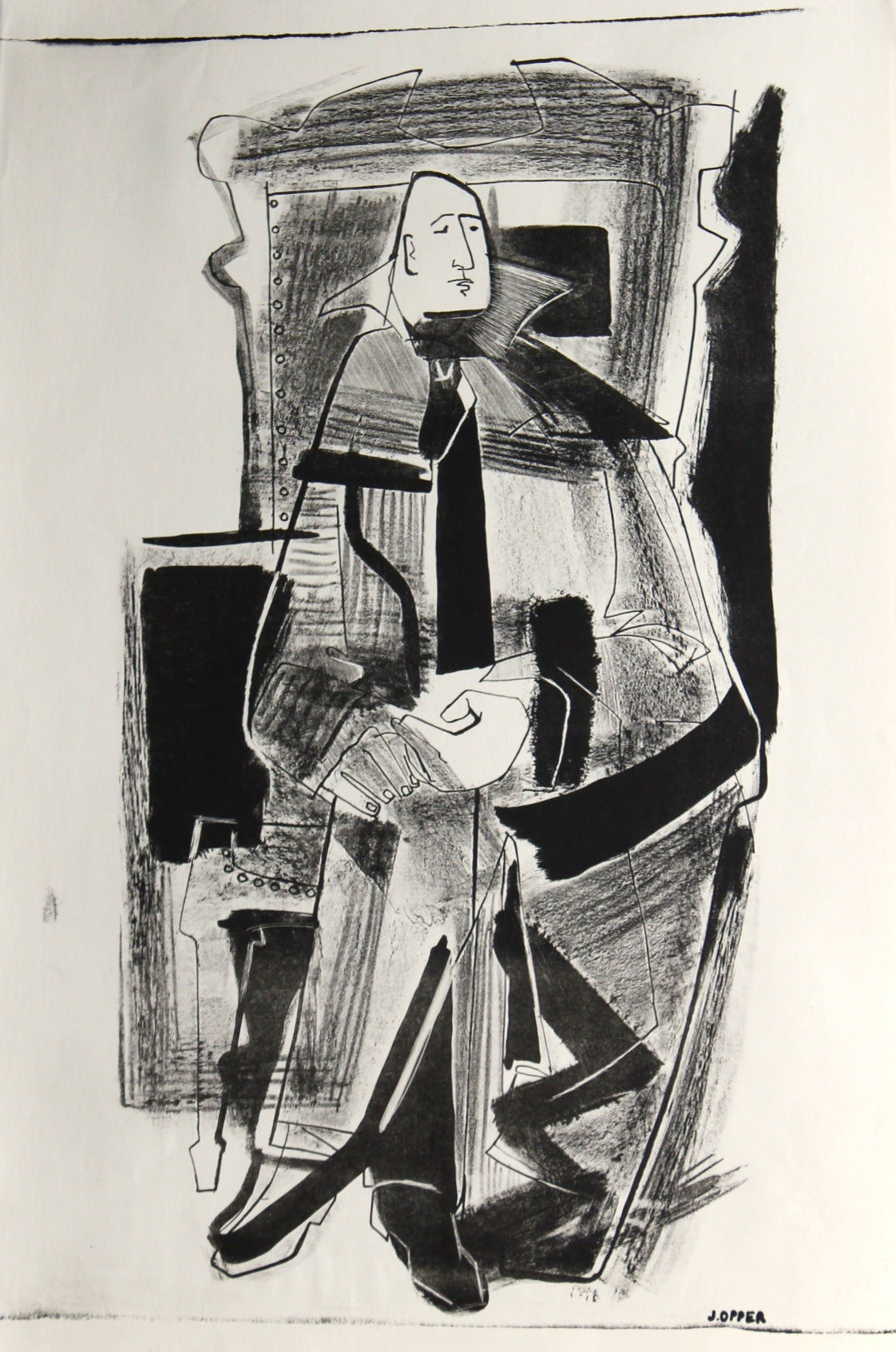 Abstracted Seated Figure <br>1940-50s Stone Lithograph<br><br>#38871