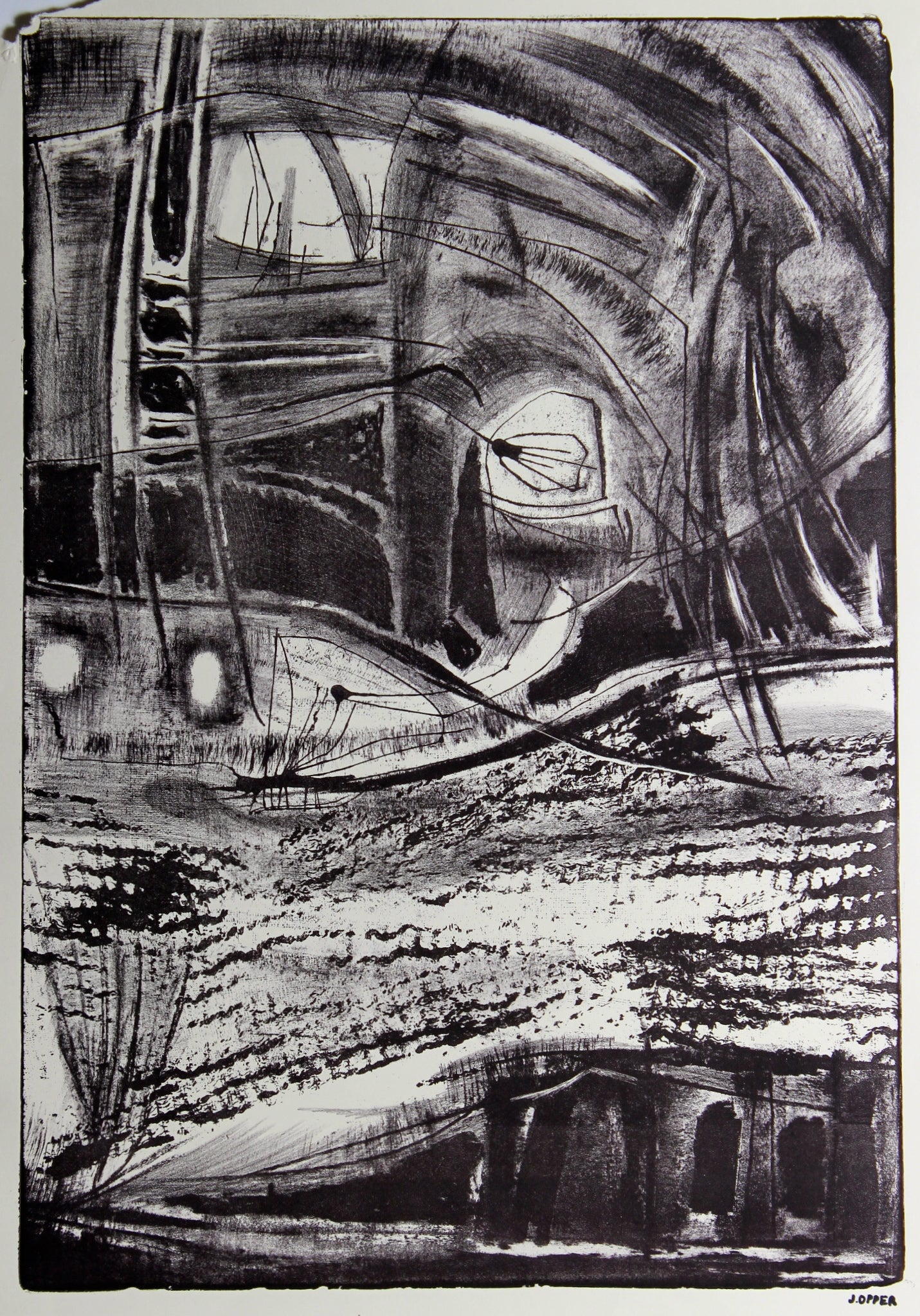 Monochrome Abstracted City Scene <br>1940-50s Lithograph <br><br>#38910