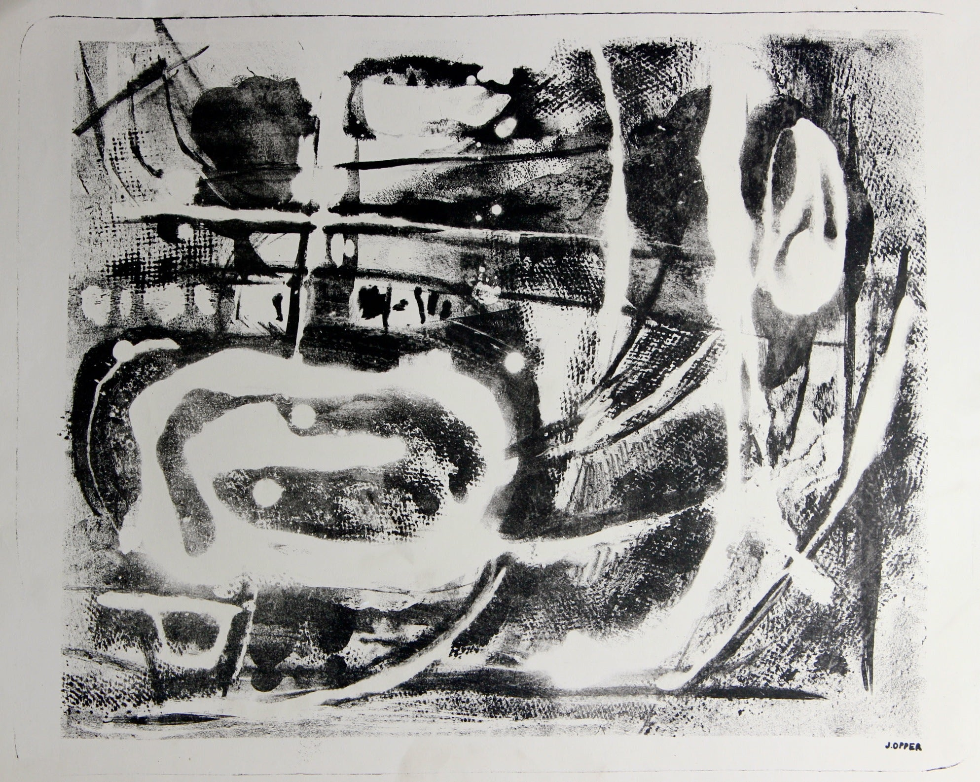 Amorphic Abstraction<br>1940-50s Stone Lithograph<br><br>#38924