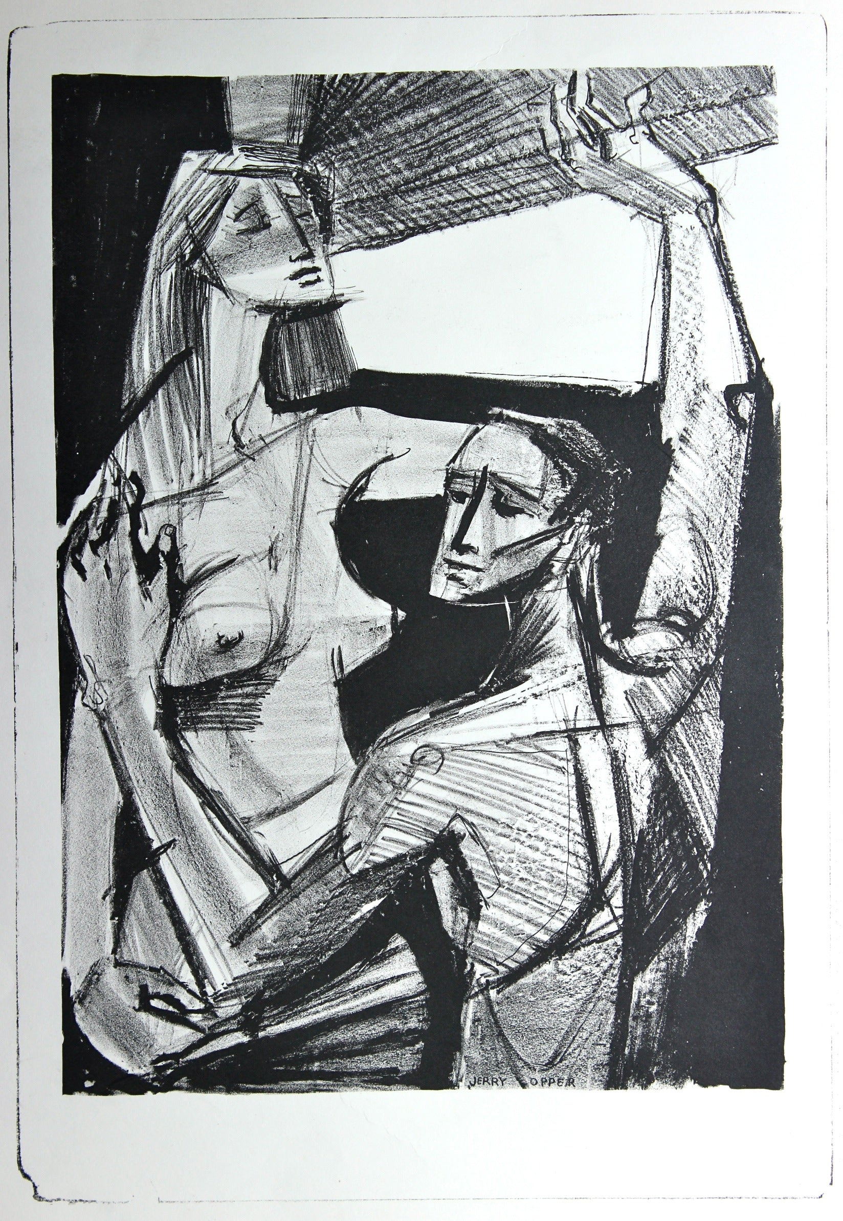 Nude Couple by a Window<br>1940-50s Stone Lithograph<br><br>#38926
