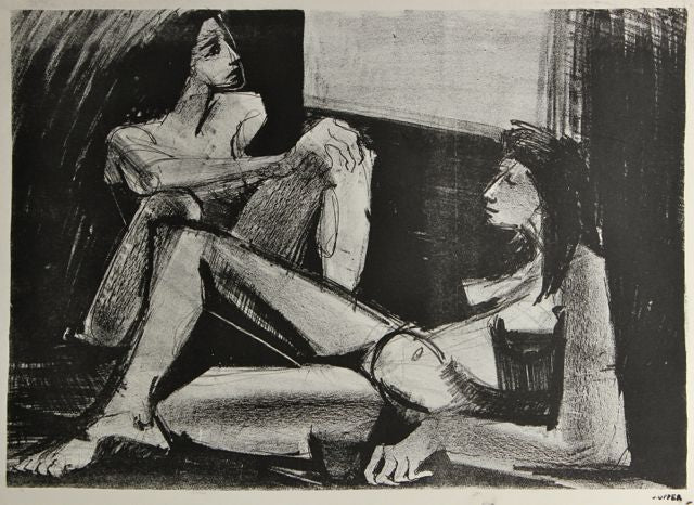 Two Seated Women<br>1940-50s Stone Lithograph <br><br>#38934