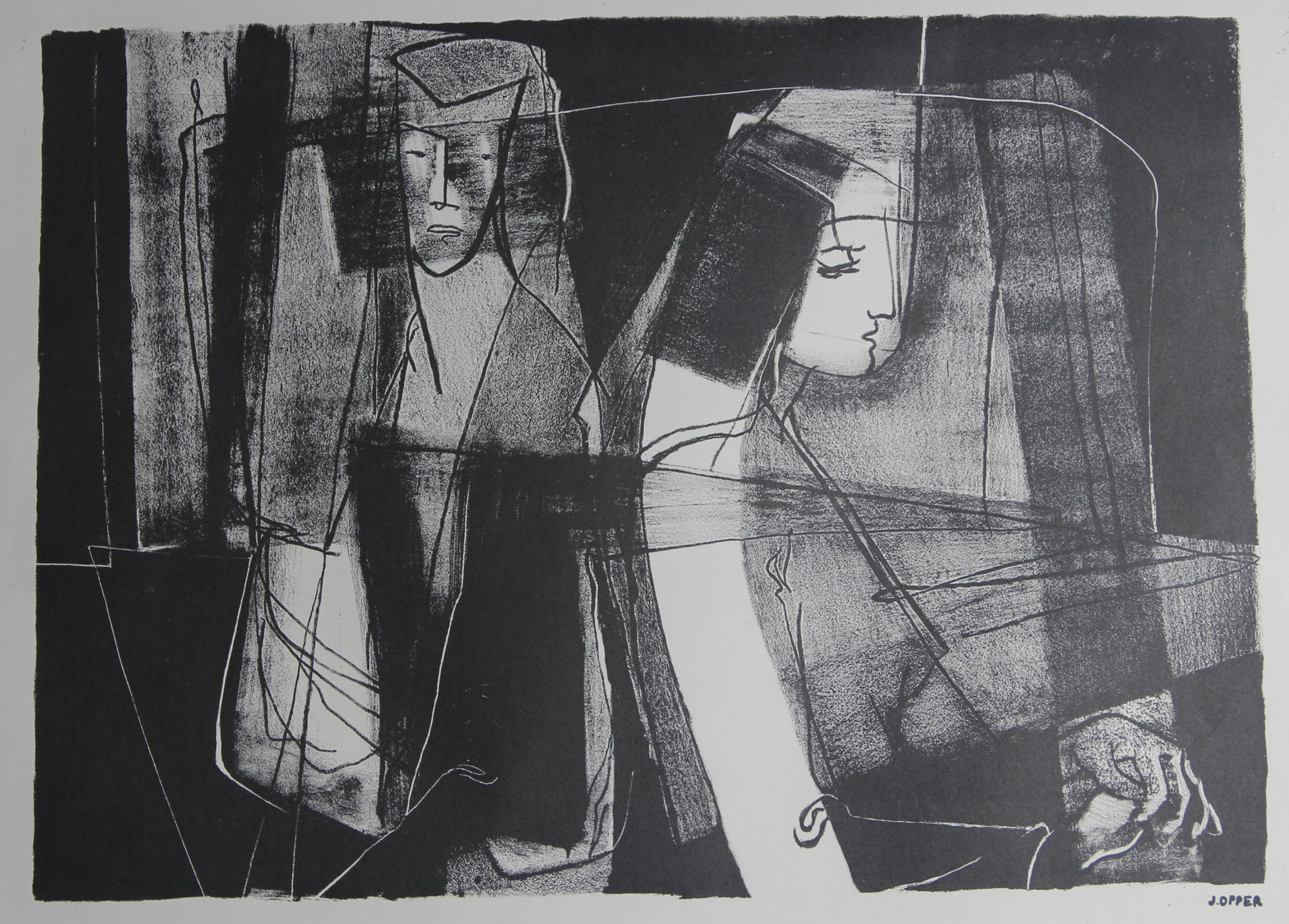 Monochrome Modernist Figures<br>1940-50s Stone Lithograph<br><br>#38936