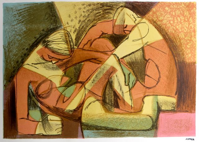 Colorful Seated Figures <br>1940-50s Stone Lithograph <br><br>#38939