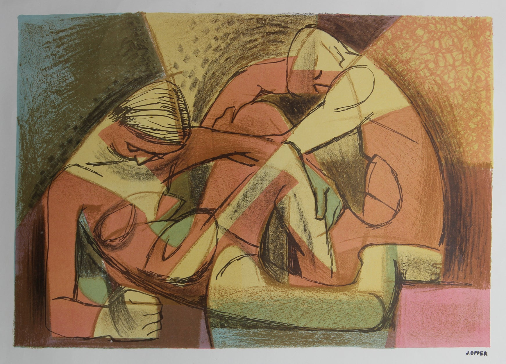 Warm Modernist Figures<br>1940-50s Stone Lithograph<br><br>#38941