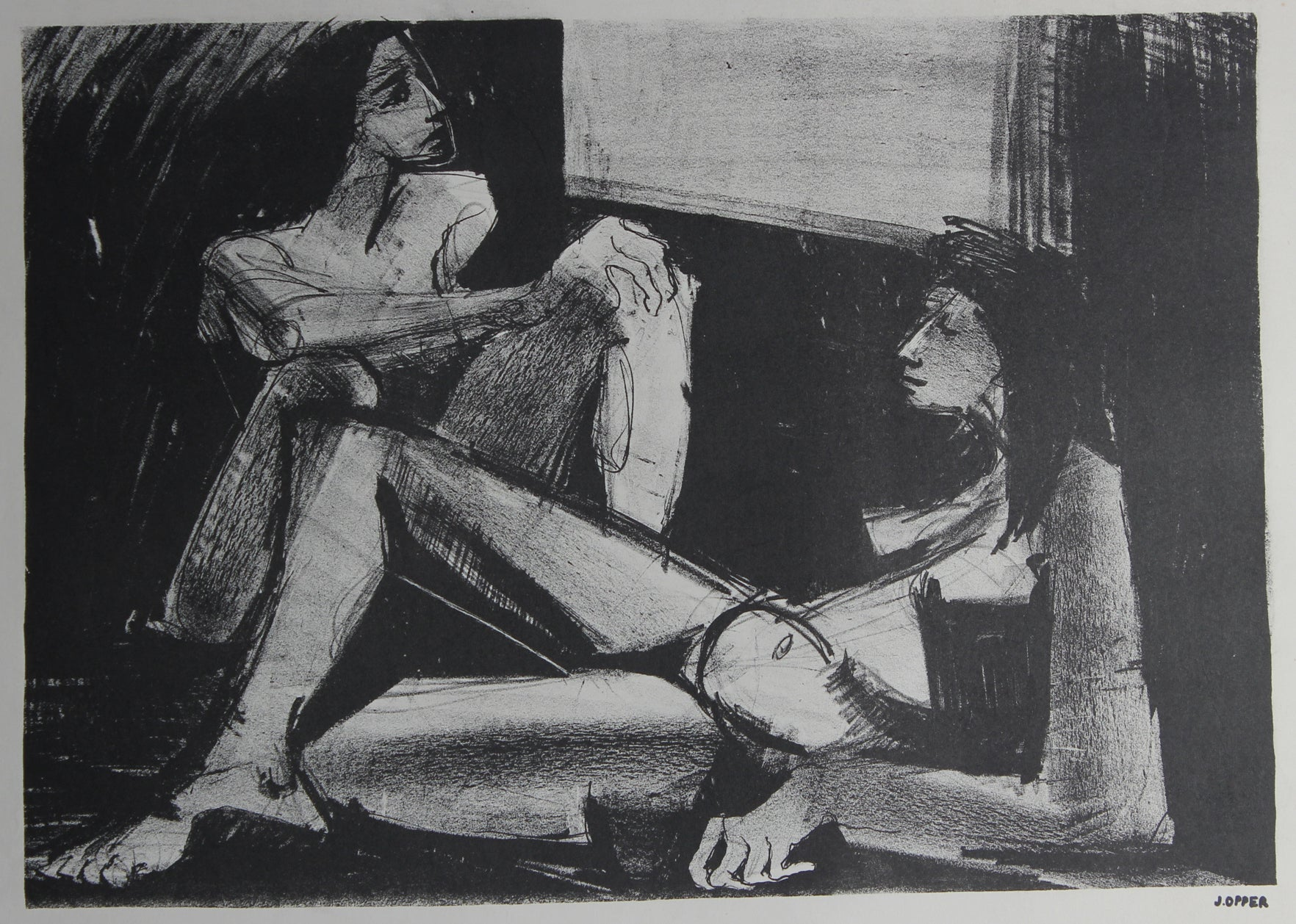 Monochrome Reclining Women<br>1940-50s Stone Lithograph<br><br>#38943