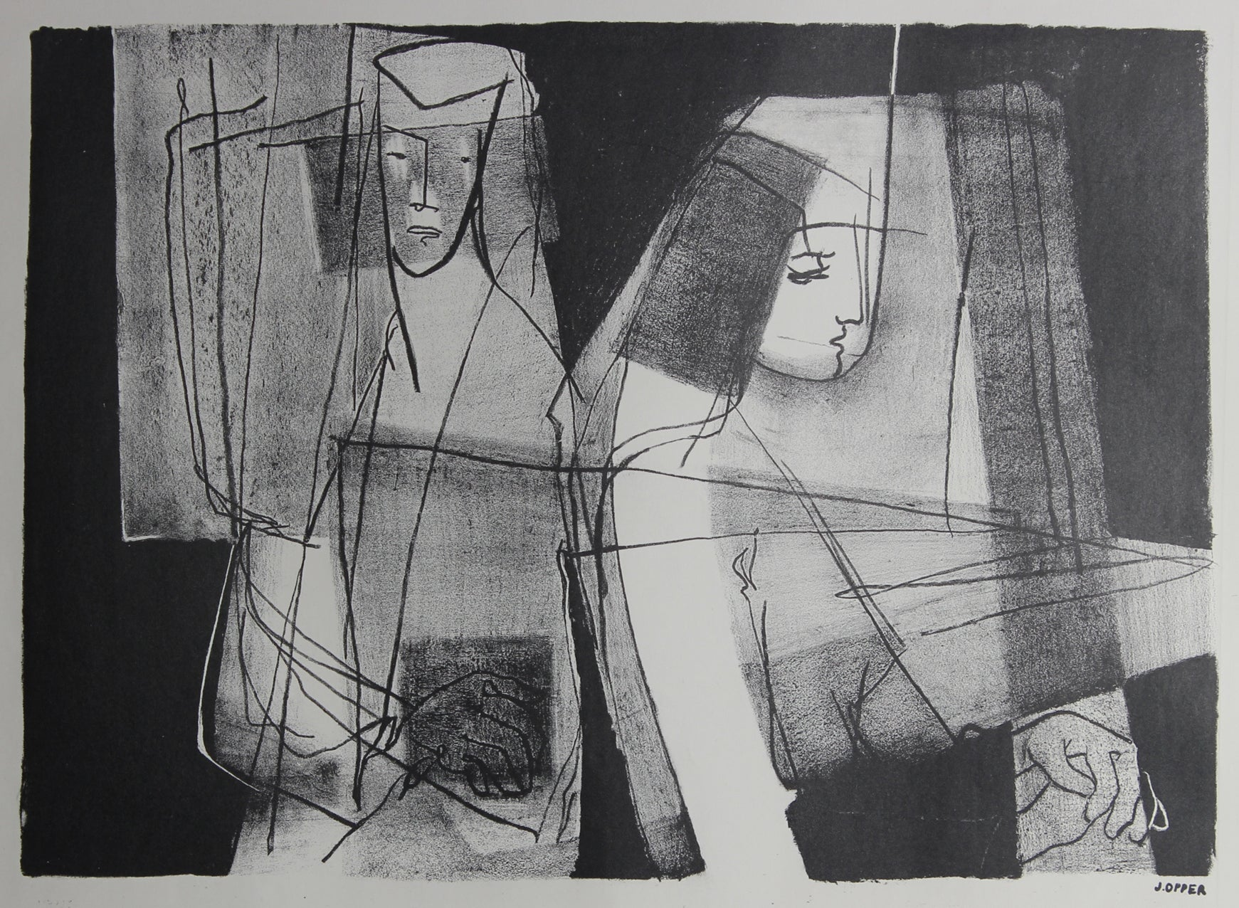 Monochromatic Modernist Figures<br>1940-50s Stone Lithograph<br><br>#38945