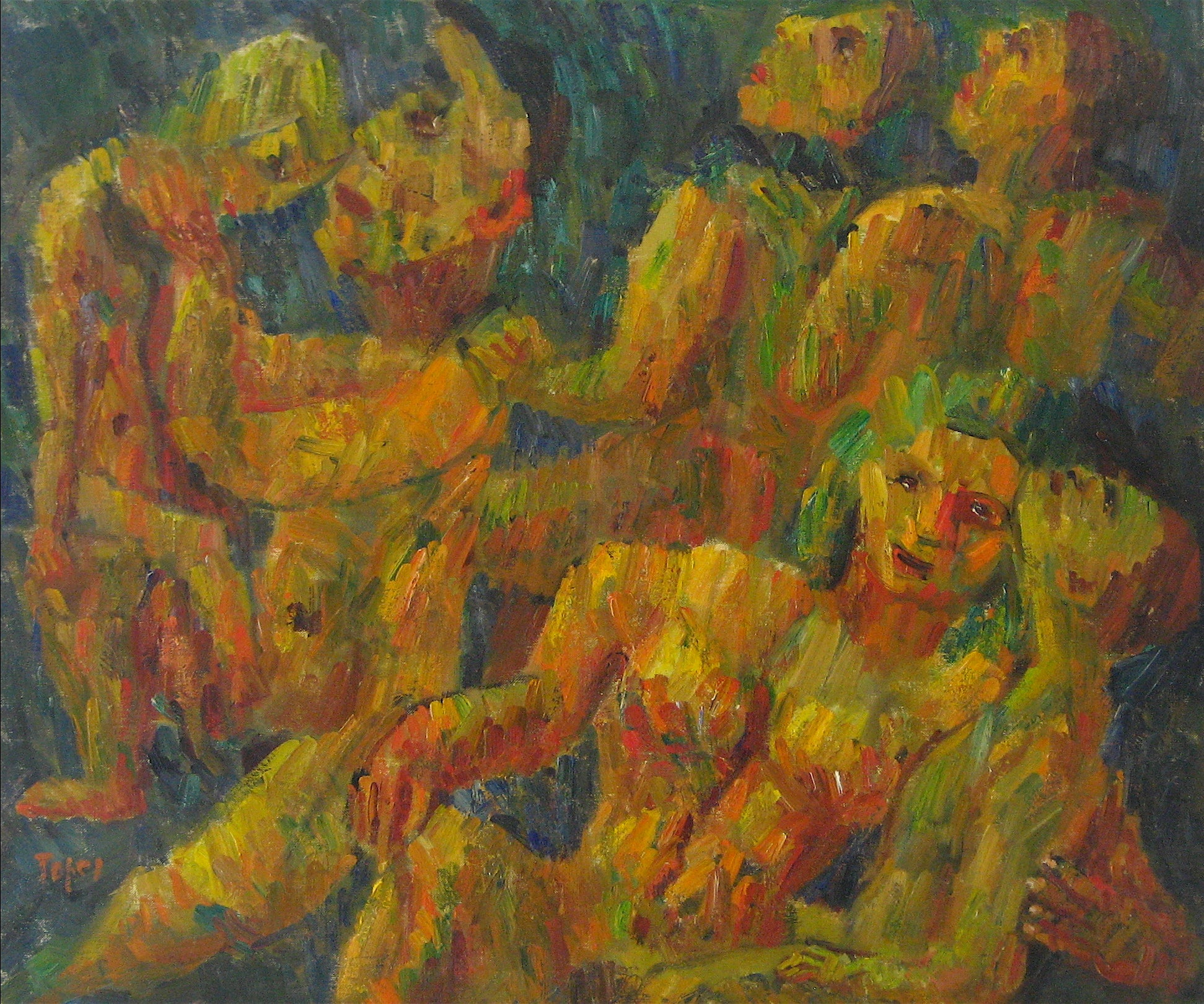 <i>Sky Watchers</i><br>1947 Expressionist Oil<br><br>#13926