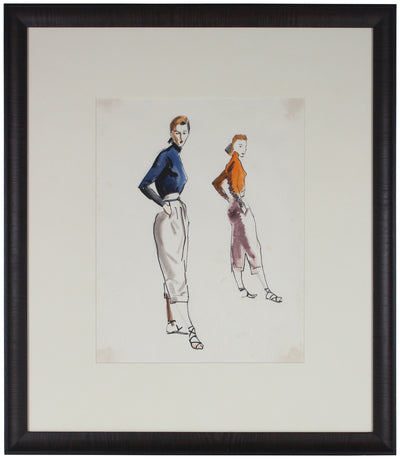 Orange & Blue Fashion Pair<br>Watercolor, 1940-50<br><br>#3597