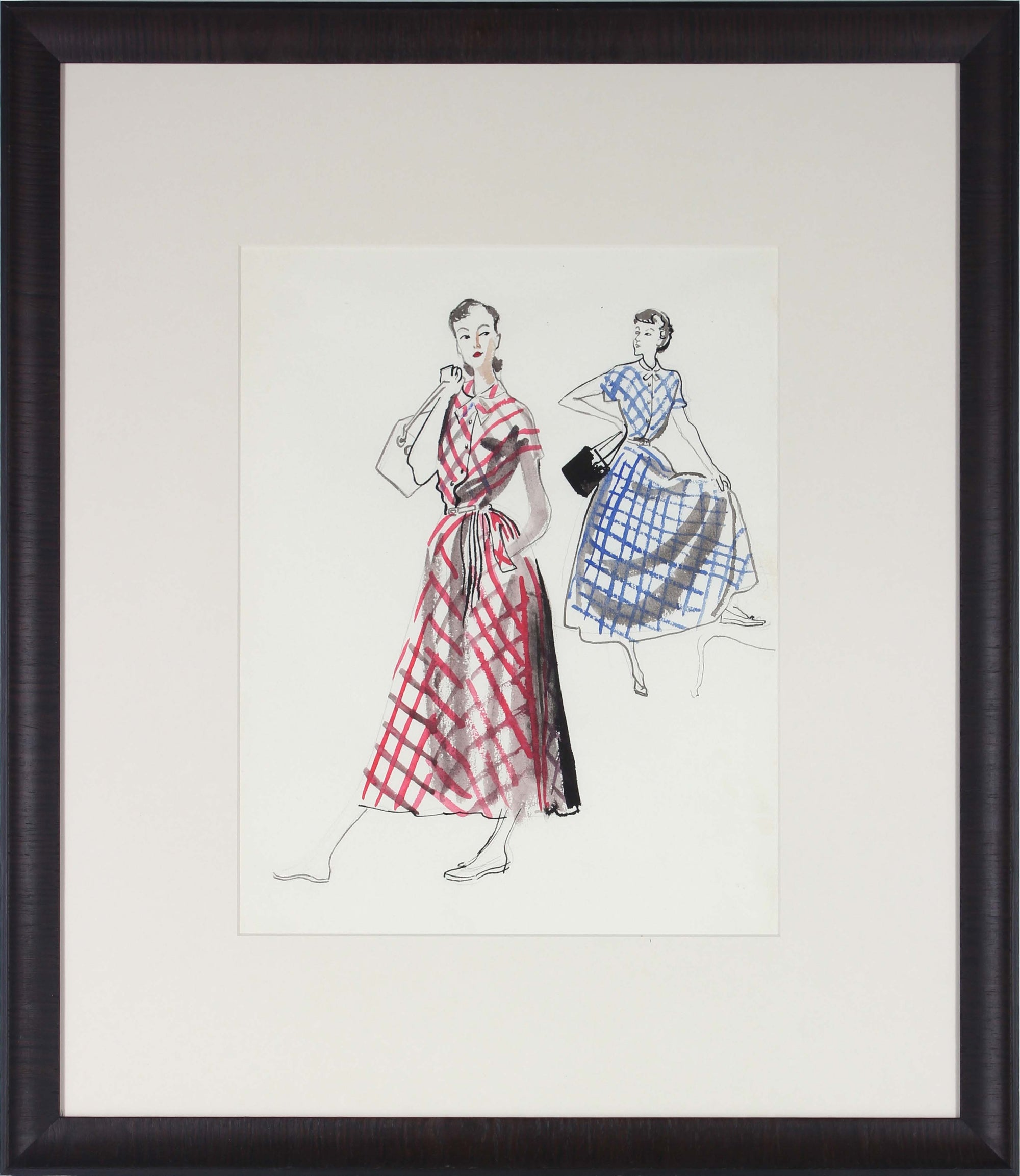 Models in Gingham<br>Gouache & Ink, Mid Century<br><br>#3645