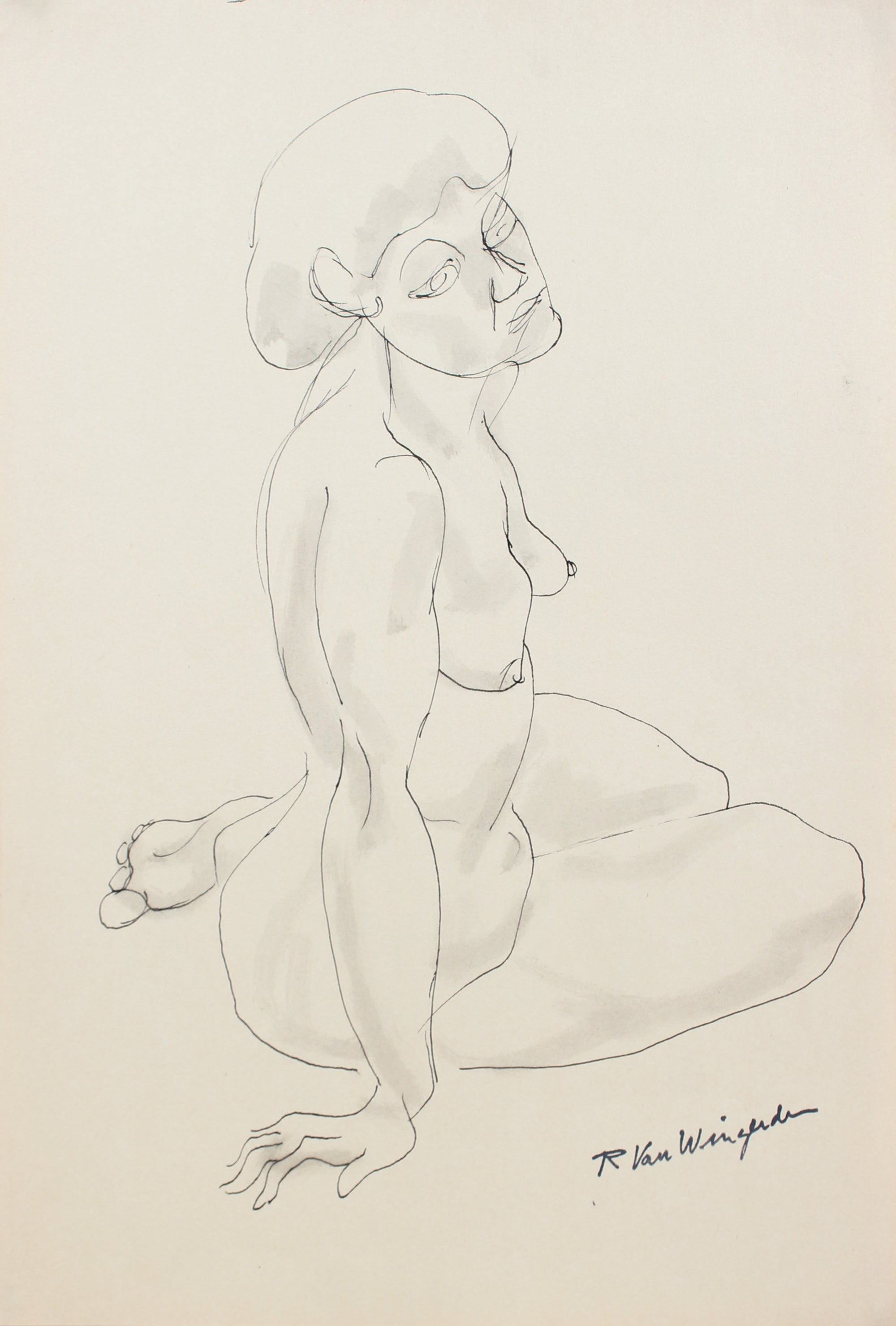 Expressionist Seated Female Nude<br>1940s-50s Ink<br><br>#3954