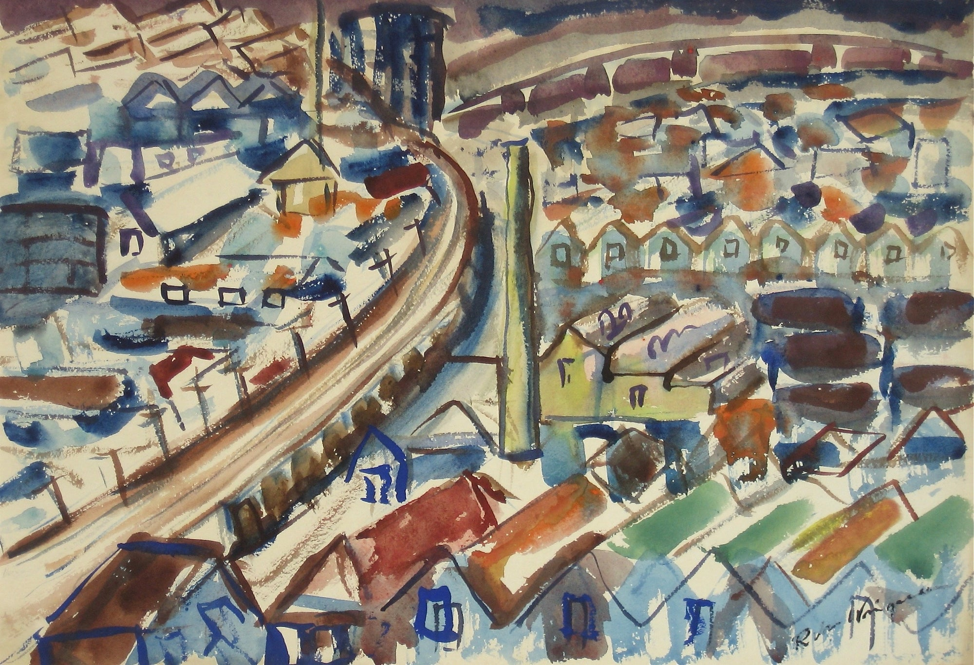San Francisco in Abstraction<br>1940-50s Watercolor<br><br>#3966