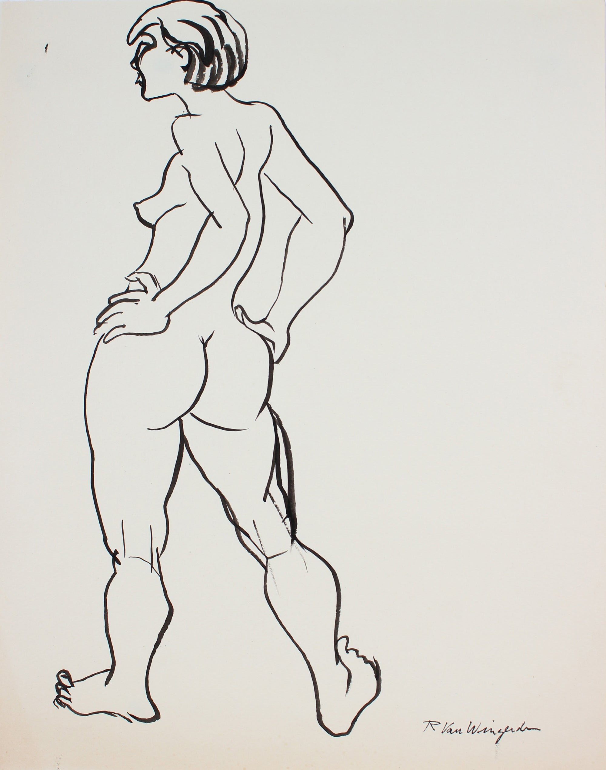 Expressionist Standing Female Nude<br>1940s-50s Ink<br><br>#3991