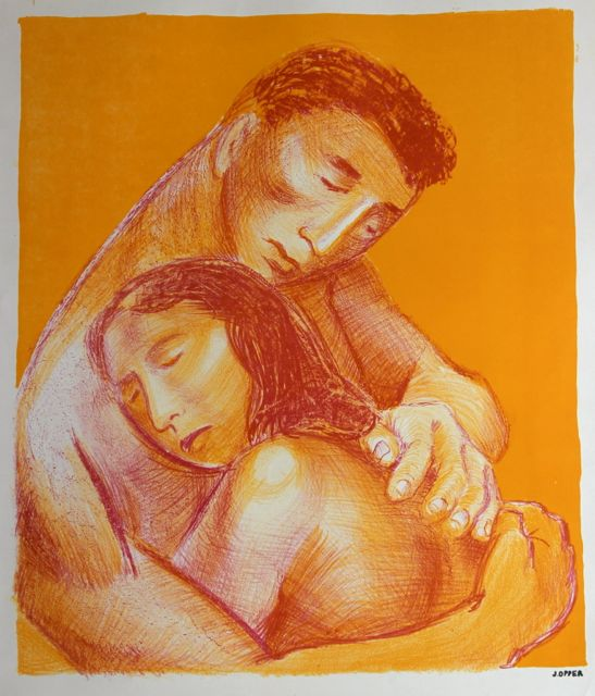 Warm Embrace <br>1940-50s Stone Lithograph <br><br>#40225
