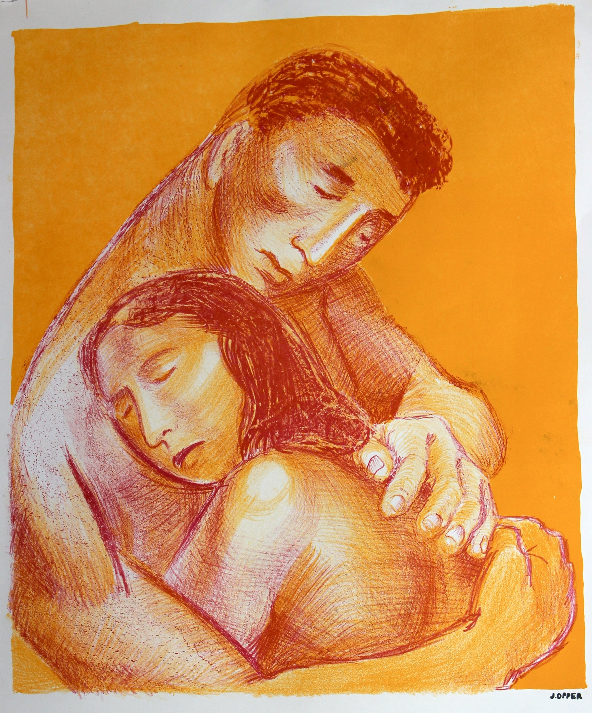 Modernist Embrace<br>1940-50s Stone Lithograph<br><br>#40226