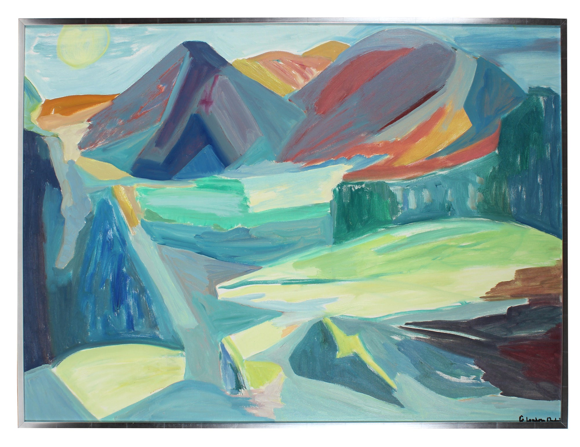 Abstracted Mountainous Landscape<br>1970s Oil <br><br>#A3040